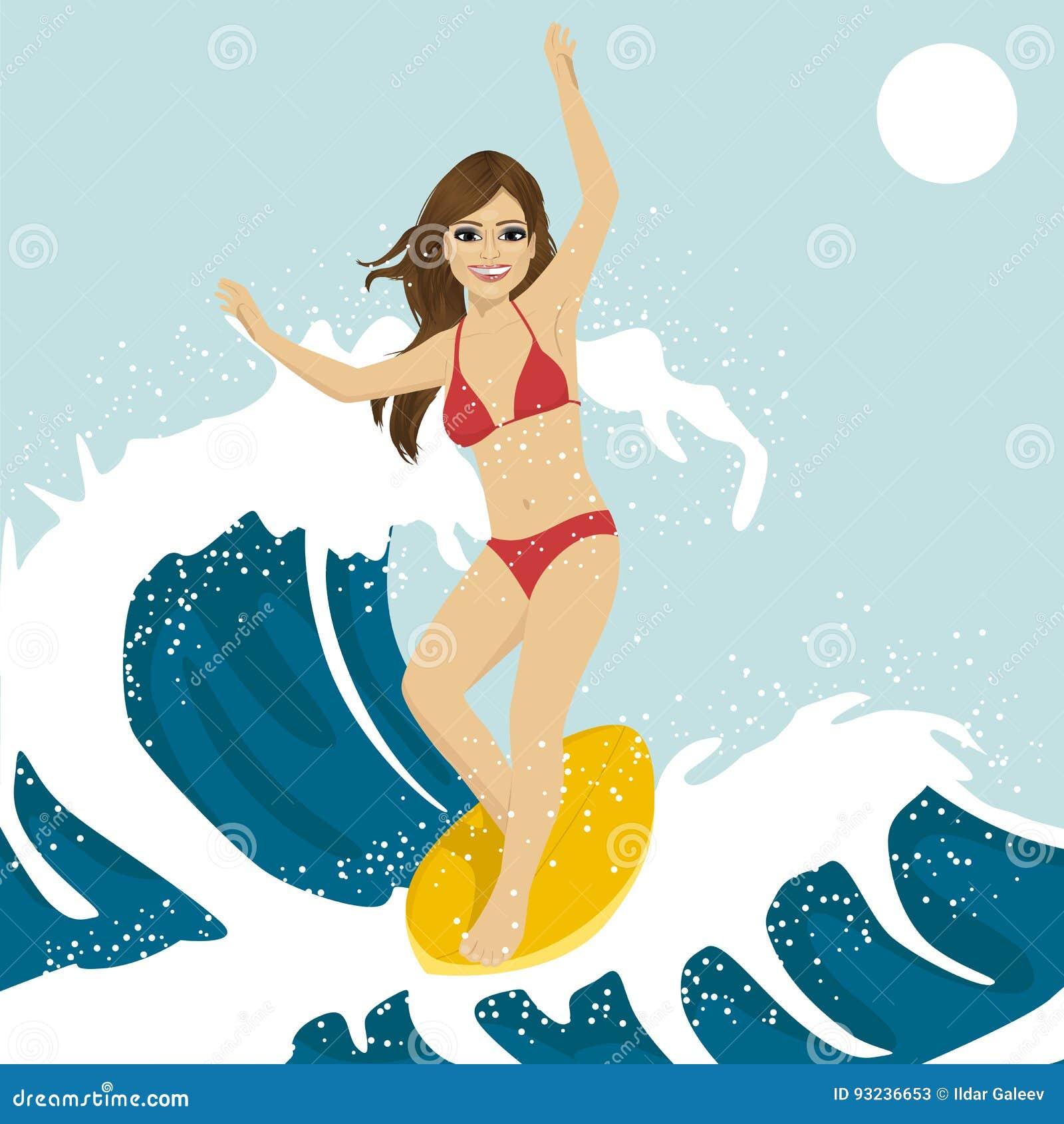 Schöne junge Frau, die auf Meereswogen surft Das blaue Ozeanwasser, das mit zusammenstößt, spritzt und fällt