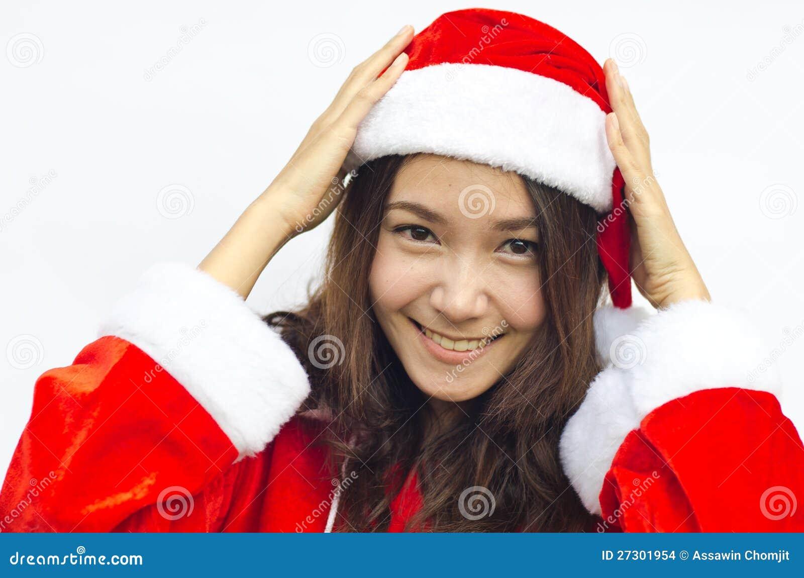 Schöne junge Weihnachtsmann-Frau,