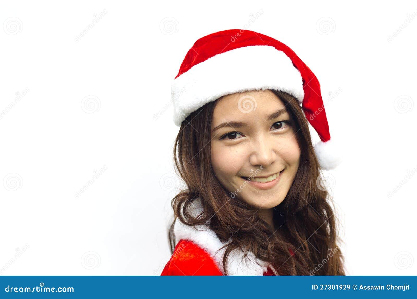 Schöne junge Weihnachtsmann-Frau, getrennt
