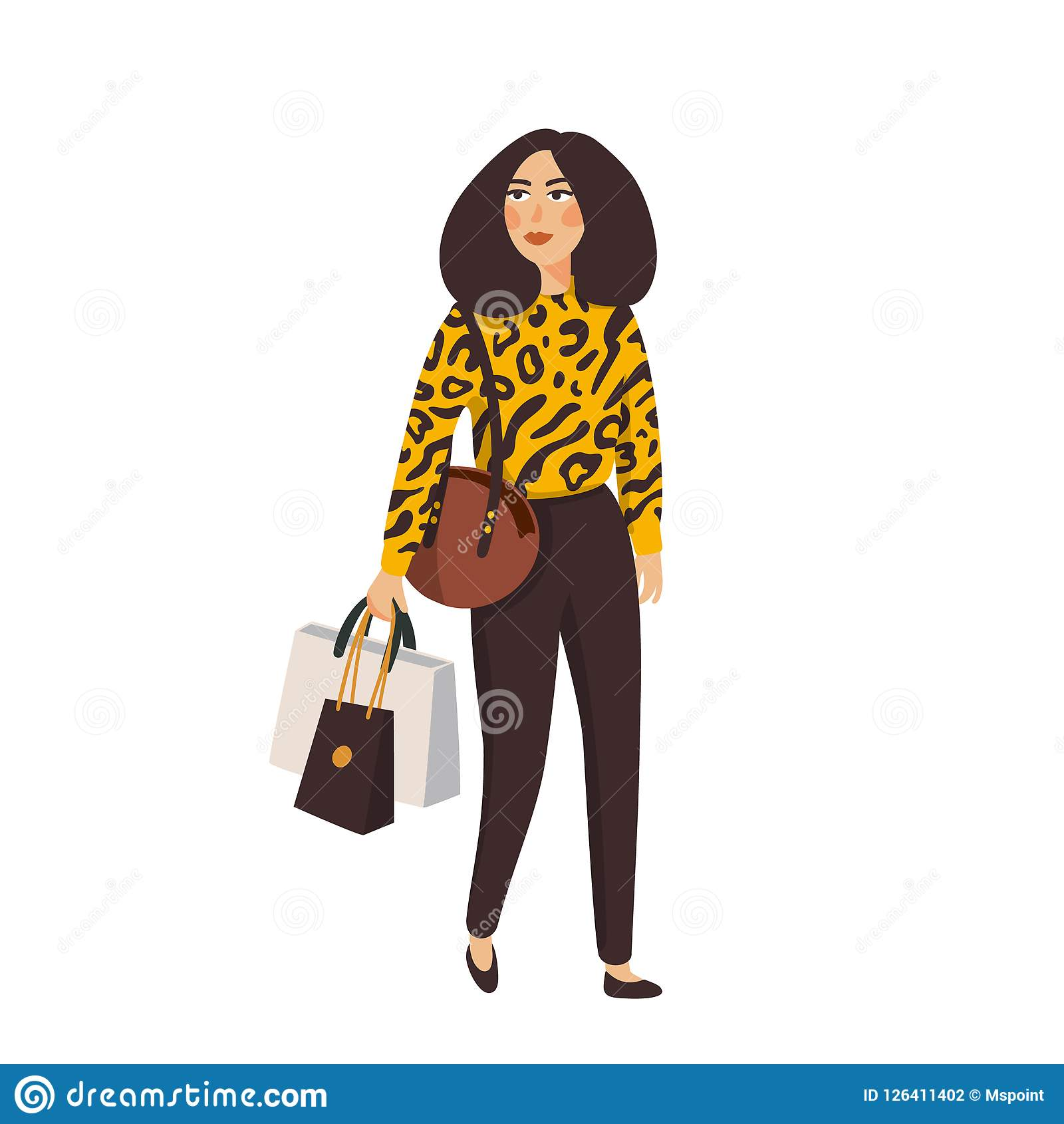 Schöne Kleidung der jungen Frauen in Mode Ausführliche weibliche Figuren mit Zubehör Flache Artvektorillustration