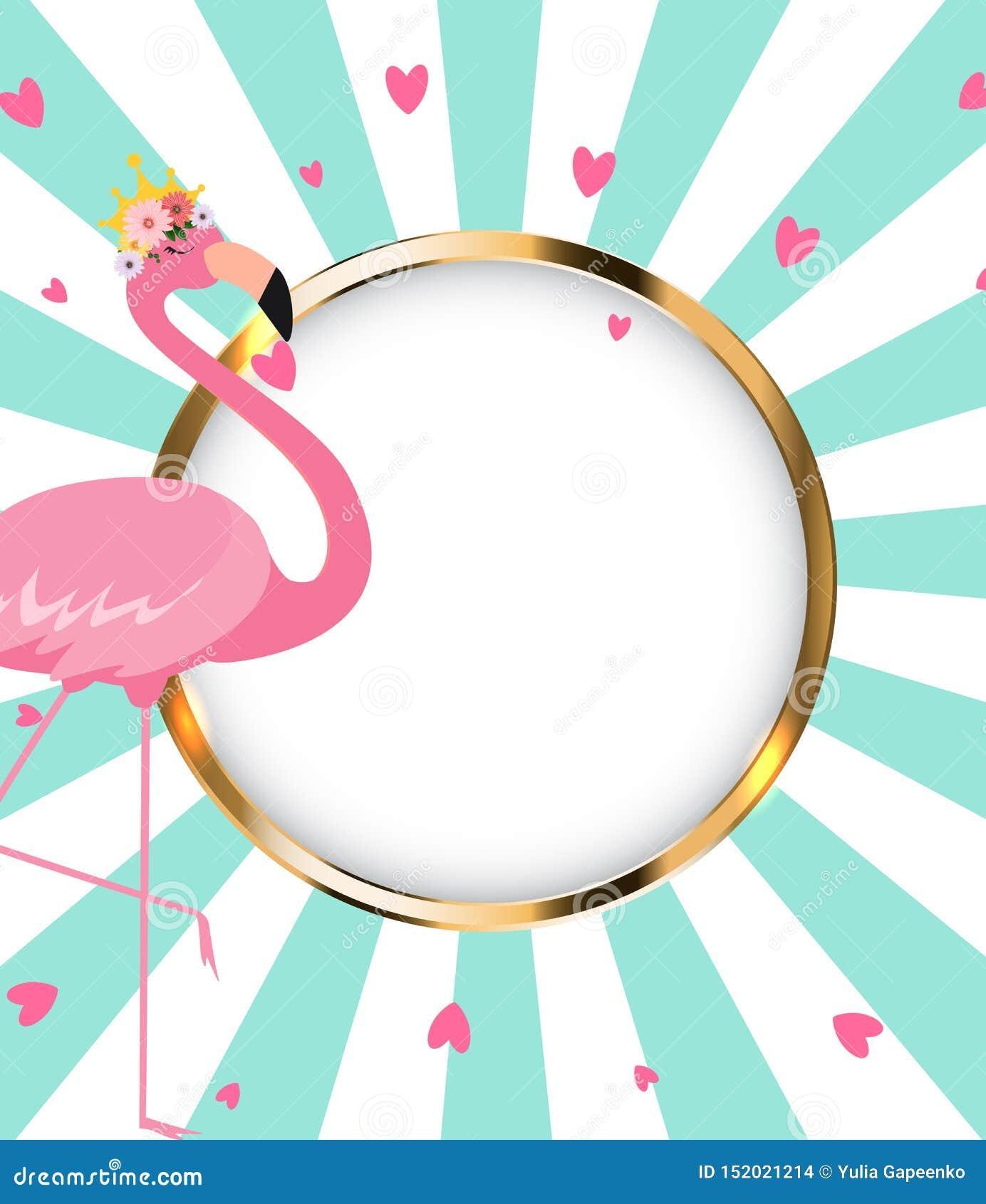 Schöne kleine Prinzessin Pink Flamingo in der goldenen Krone Abbildung