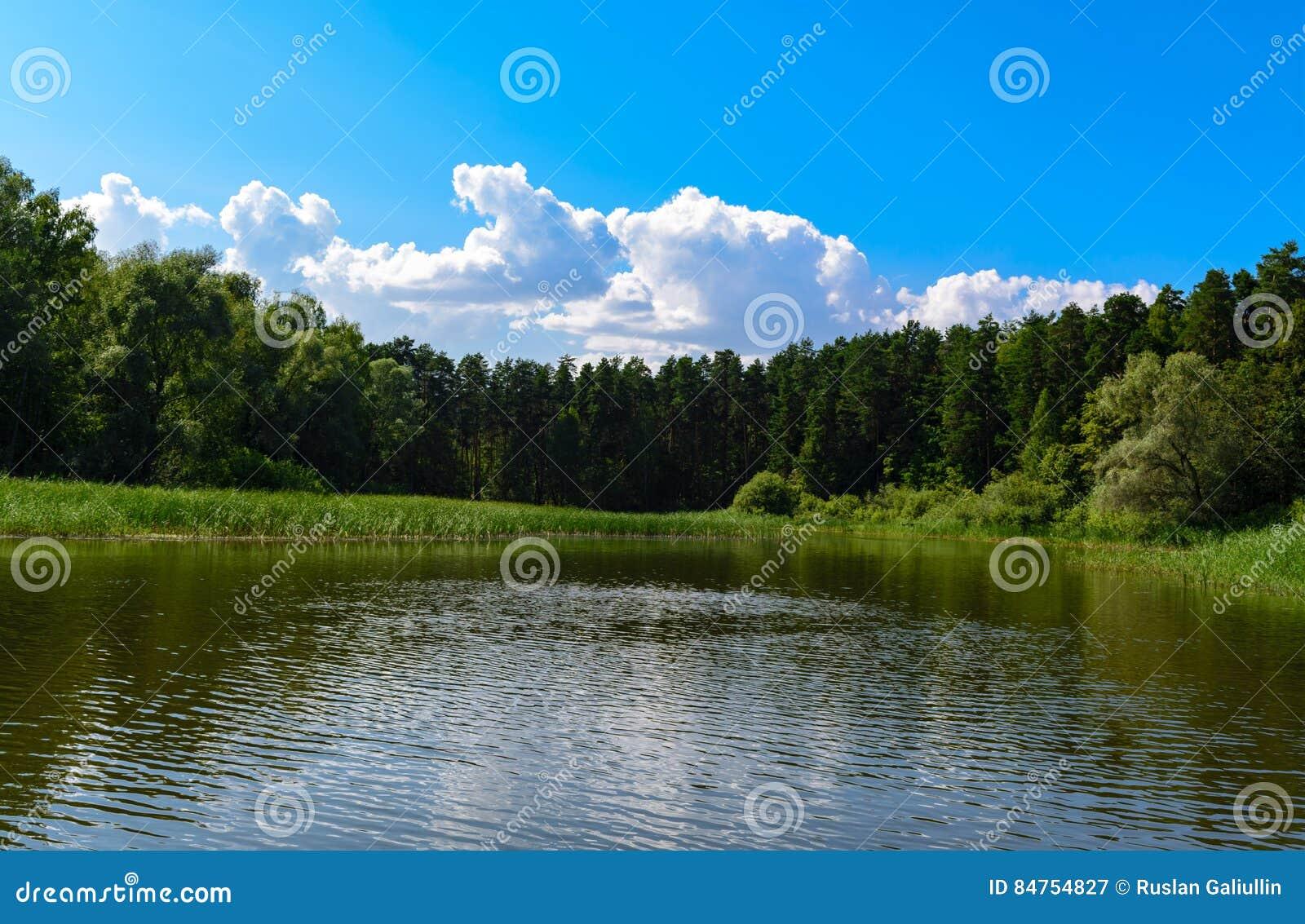 Schöne Landschaft mit blauem Himmel und weißen Wolken reflektierte sich im klaren Flusswasser Sommer idyllisch