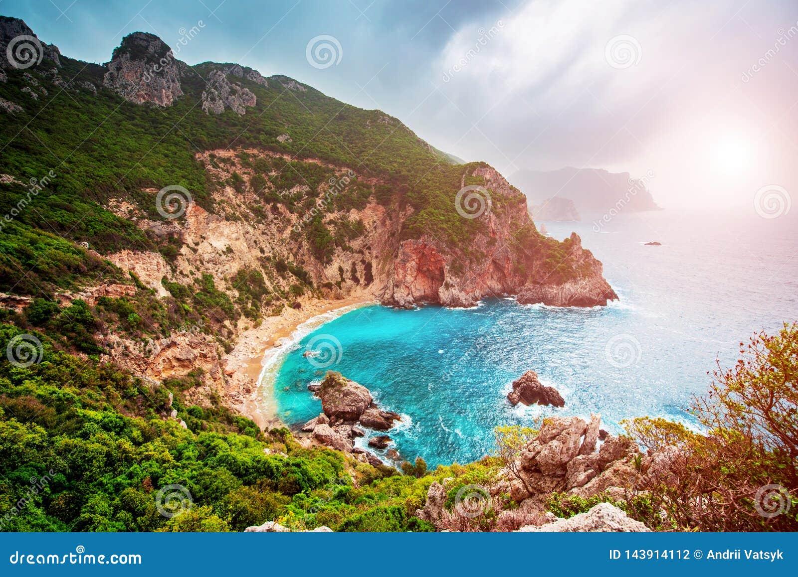 Beautiful Magic Sea Landscape with Gyali Beach in Corfu, Greece ...