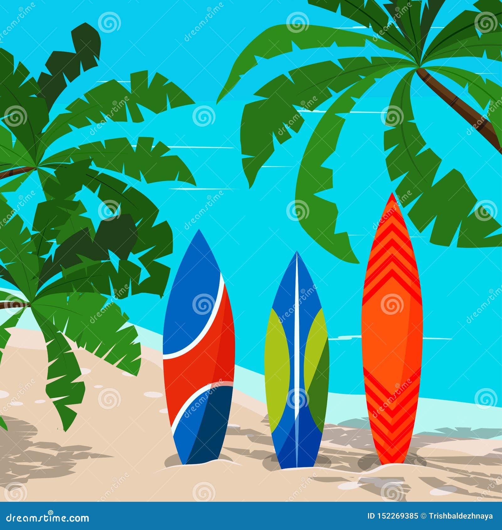 Schöne Marinelandschaft mit farbigem Surfbrett - Ozean, Palmen, Sandküstenlinie