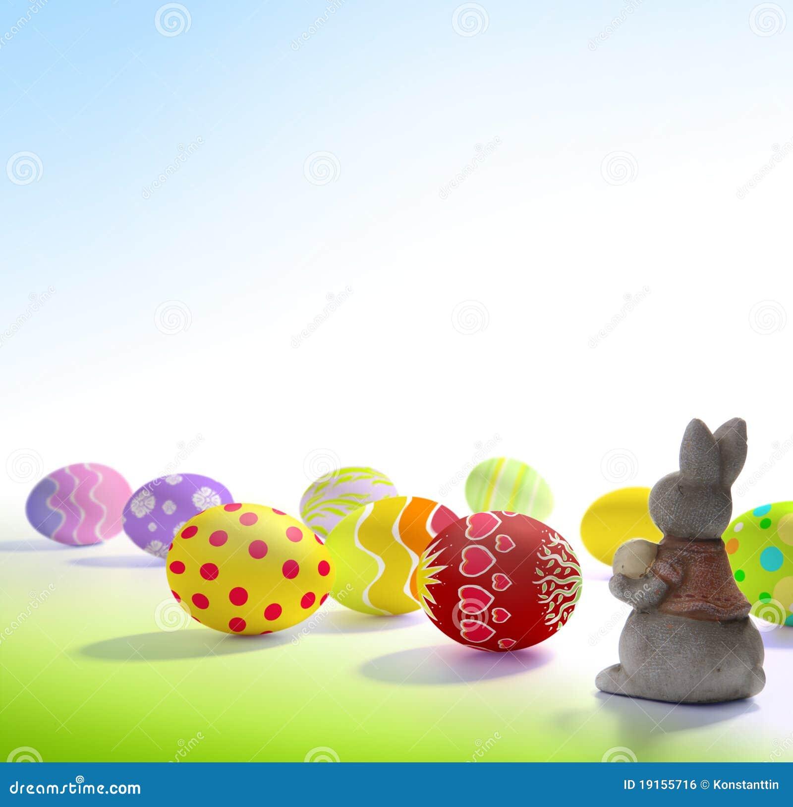 Schöne Ostern Grüße Stockfoto Bild Von Lack Eier Wiese 19155716