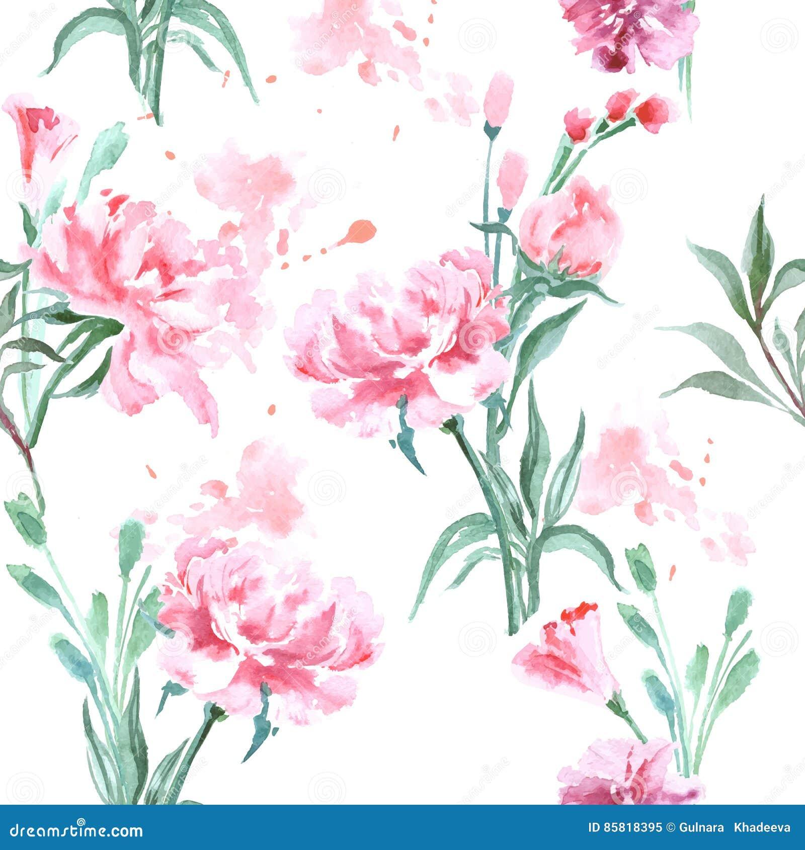Schöne Pfingstrosen Blüht Das Aquarell Das Nahtloses Muster Malt