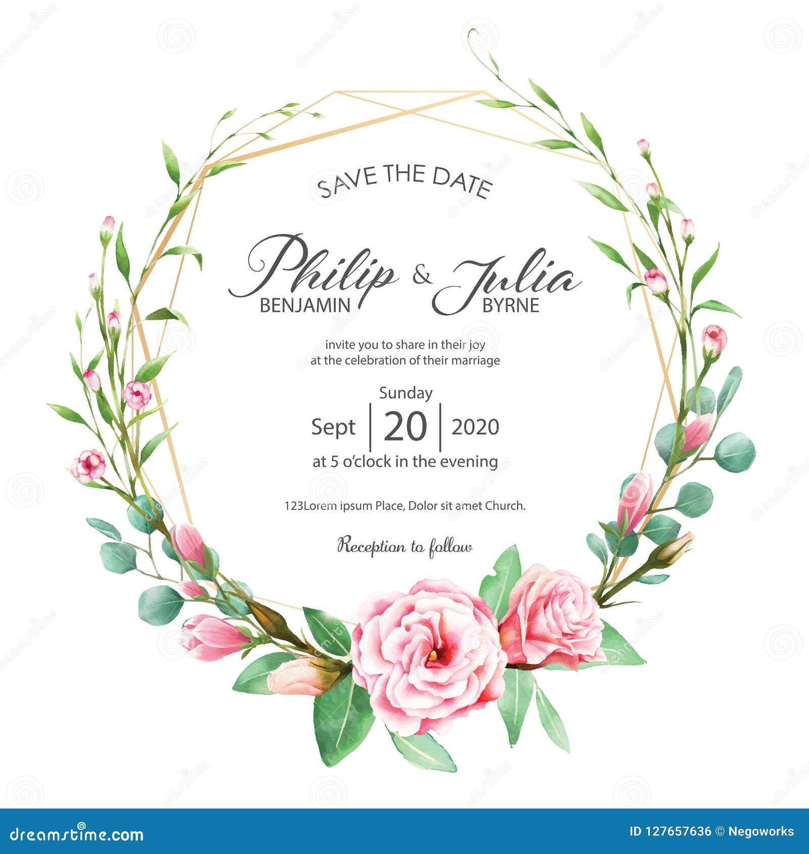 Schöne rosa Blumenhochzeitseinladungskarte auf weißem backgroun