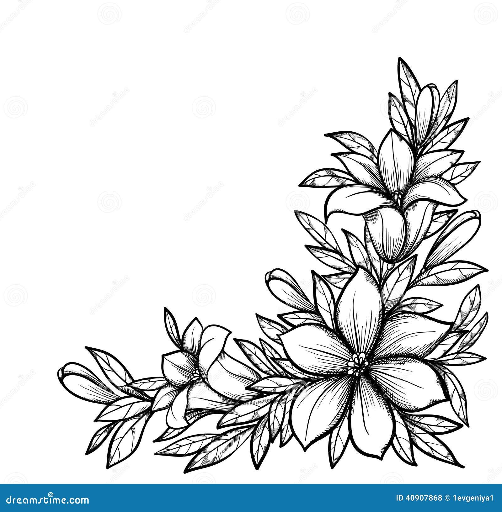 Schone Schwarzweiss Niederlassung Mit Blumen Stock Abbildung