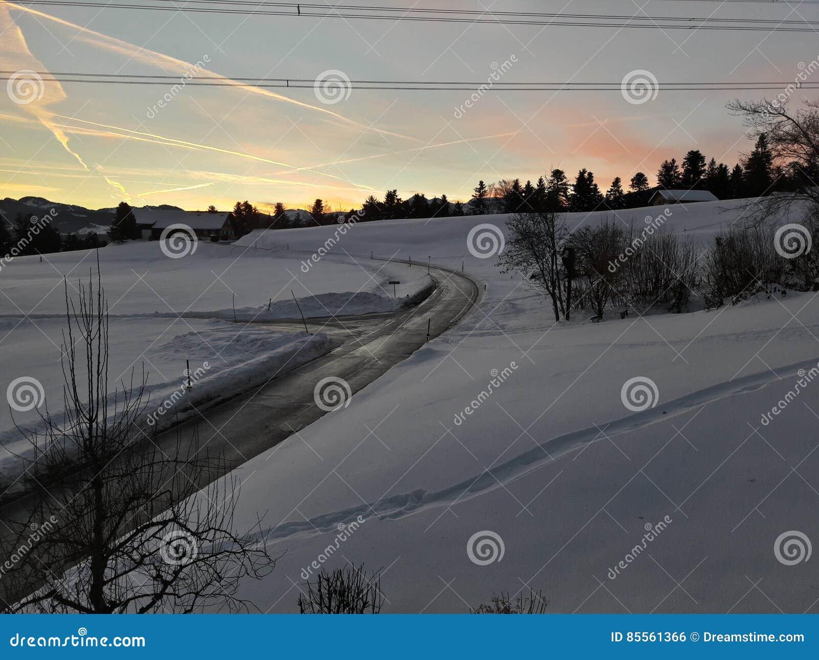 Schöne Snowy-Landschaft von Österreich