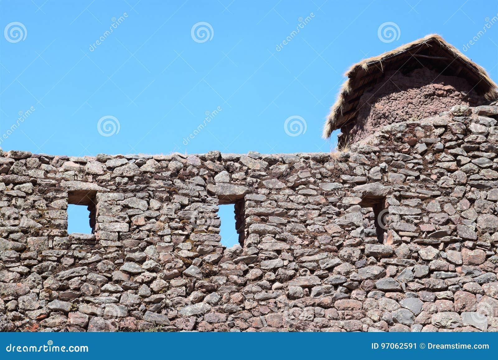 Schöne Steinwand im heiligen Tal, Peru