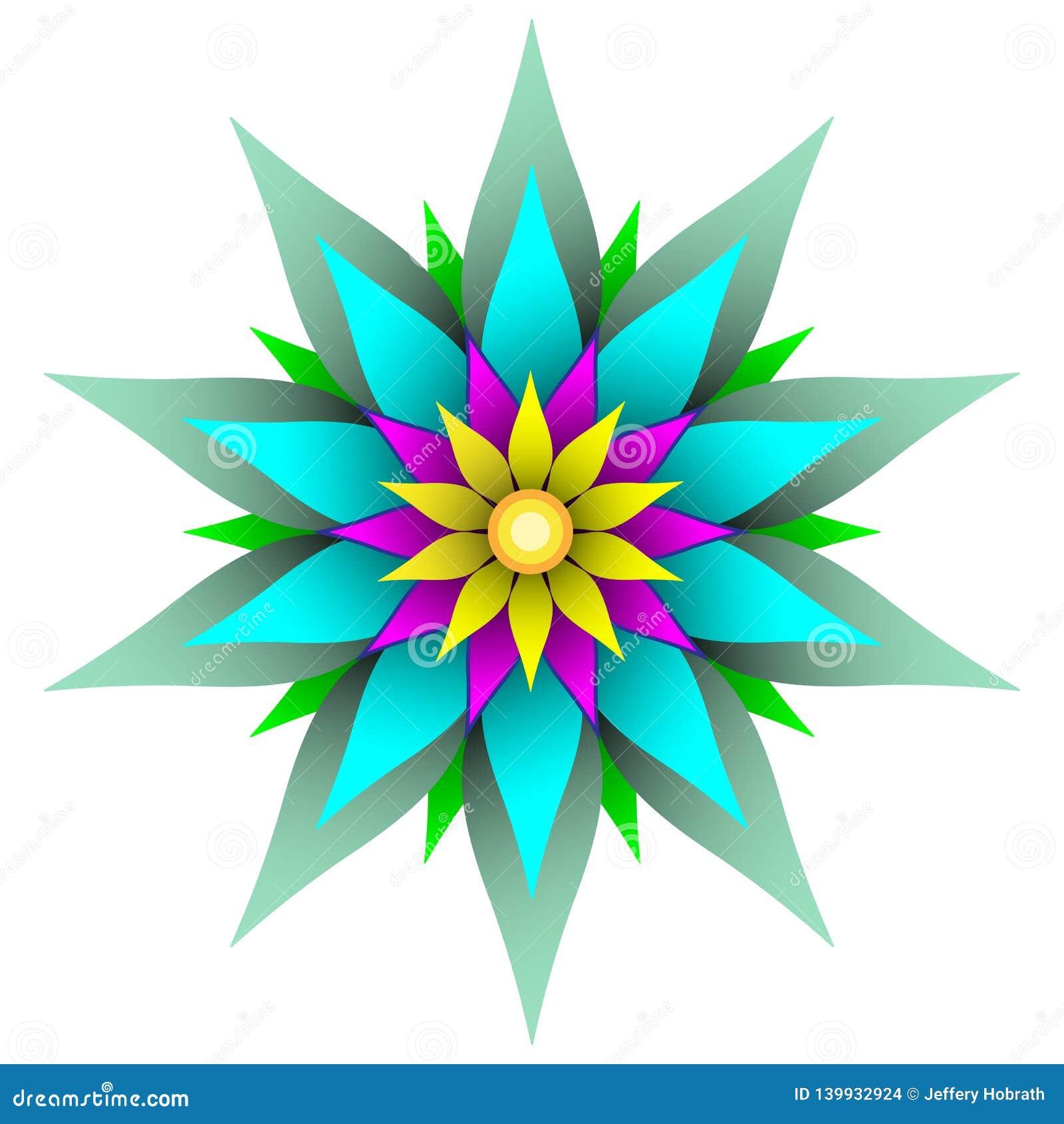 Schöne symmetrische geometrische Blumenvektorillustration