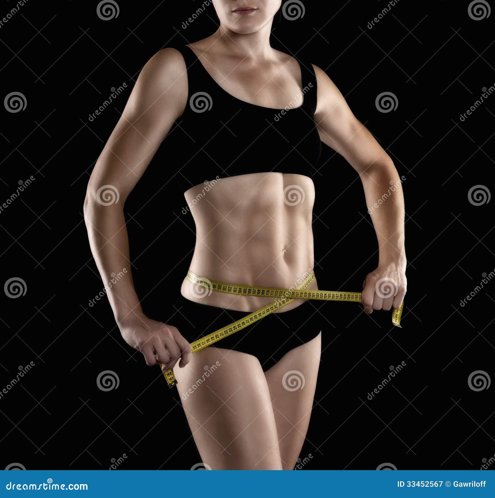 Schöne Weibliche Eignung Modelliert Magen, Torso Und Bauchmuskeln ...
