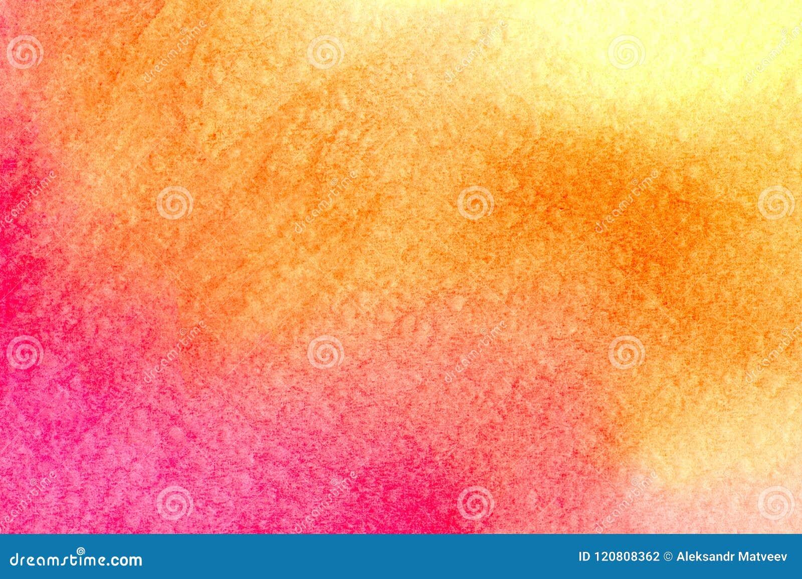 Schöner Aquarellhintergrund im vibrierenden orange rosaroten Gelb Groß für Beschaffenheiten und Hintergründe für Ihre Projekte un