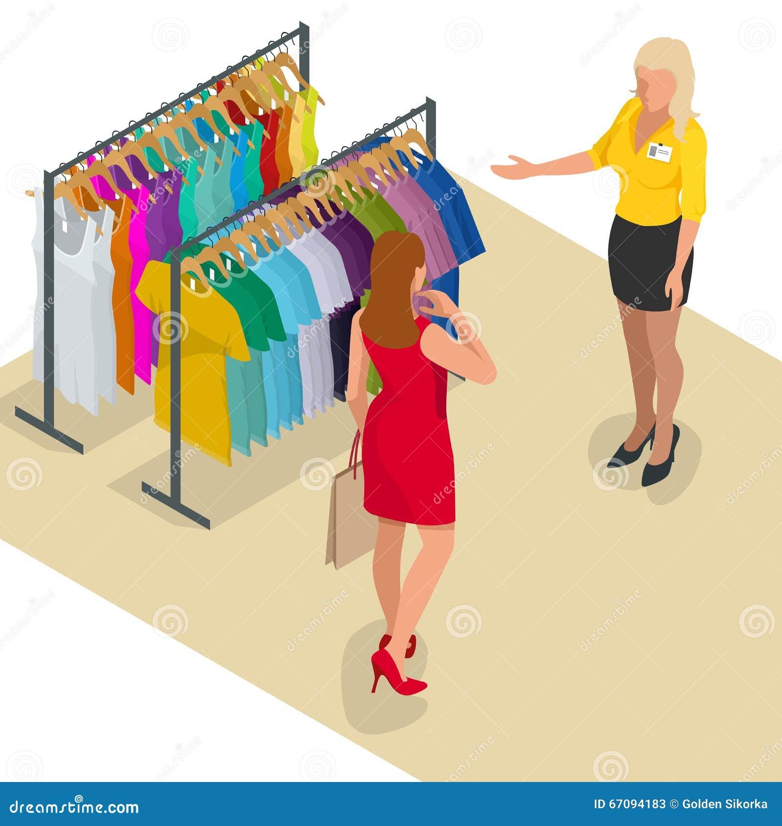 Schöner Brunette, der das Einkaufen im Kleidungsspeicher tut Universalschablone für Grußkarte, Webseite, Hintergrund Frau an der