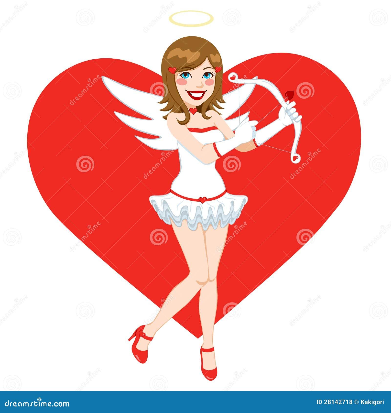 Schöner Brunette-Engels-Amor