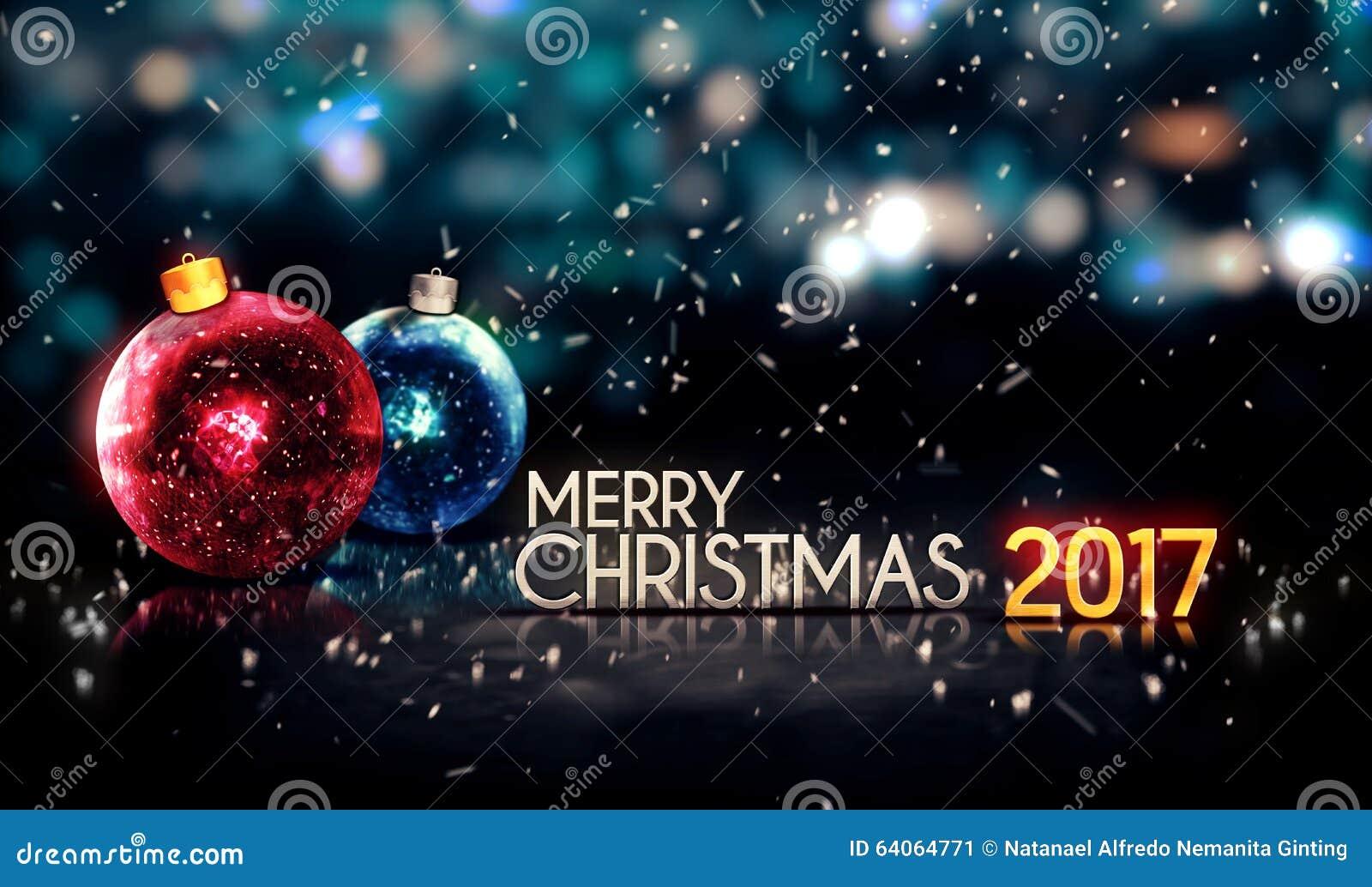 Frohe Weihnachten 3d.Schöner 3d Hintergrund 2017 Frohe Weihnacht Nacht Bokeh Stock