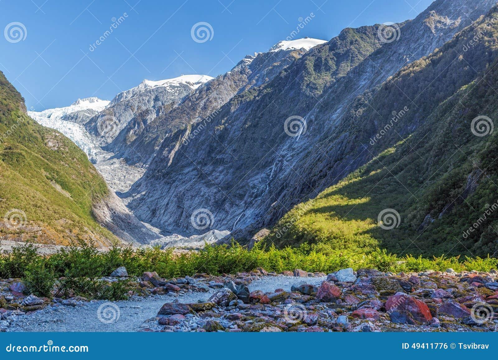 Download Schöner Franz Jozef Glacier, Südinsel, Neuseeland Stockfoto - Bild von park, blau: 49411776