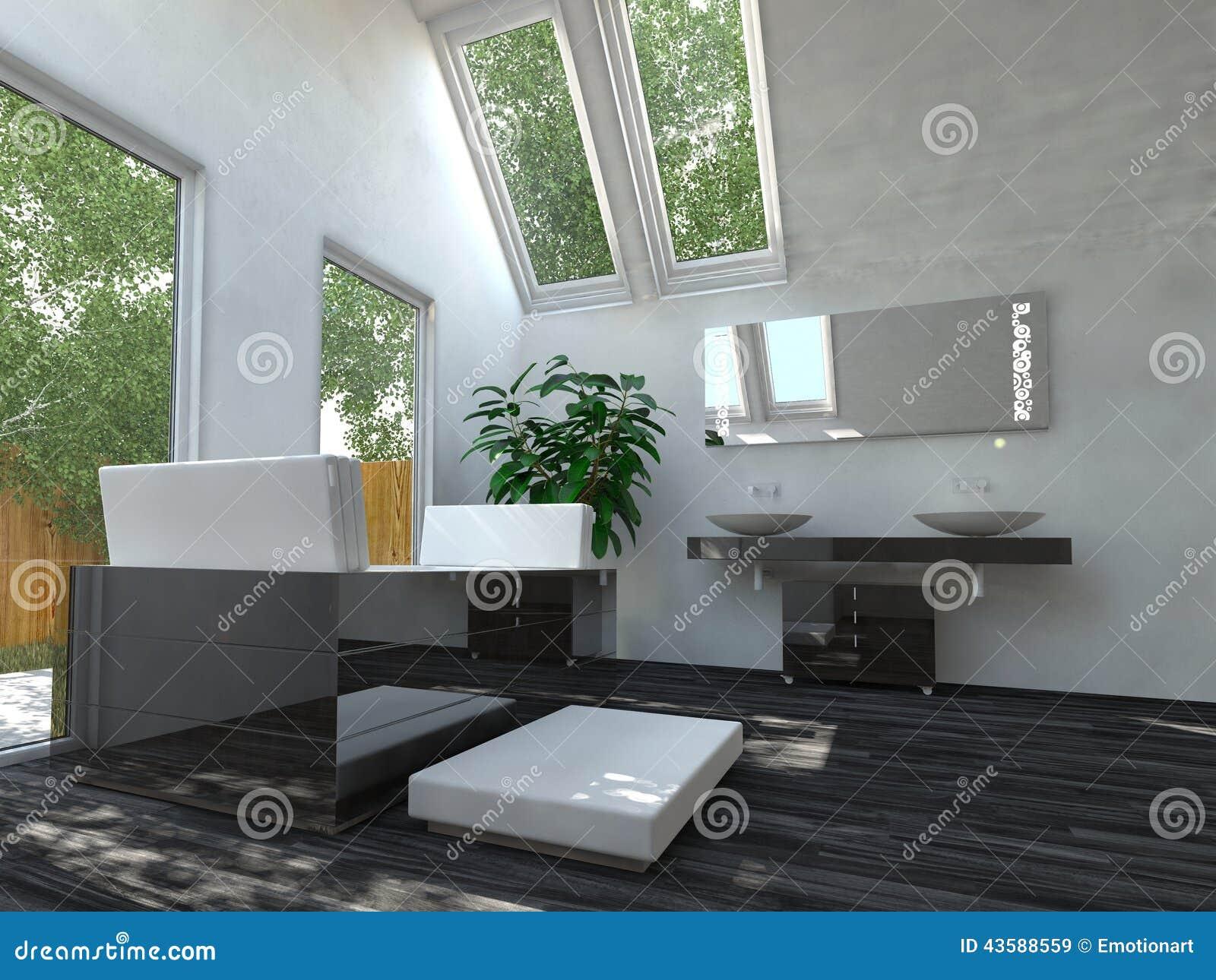 Innenarchitektur badezimmer  Modernes Schwarzweiss-Badezimmer Mit Oberlichtern Stock Abbildung ...