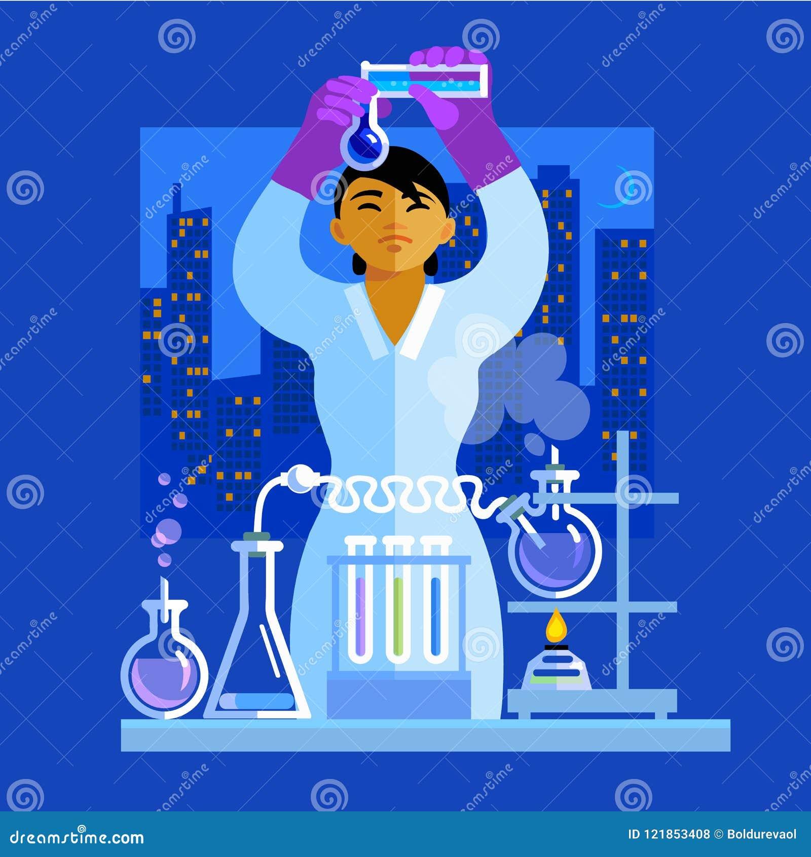 Schöner junger Asiatinwissenschaftler, der die Flaschen, arbeitend im Labor hält Vektor