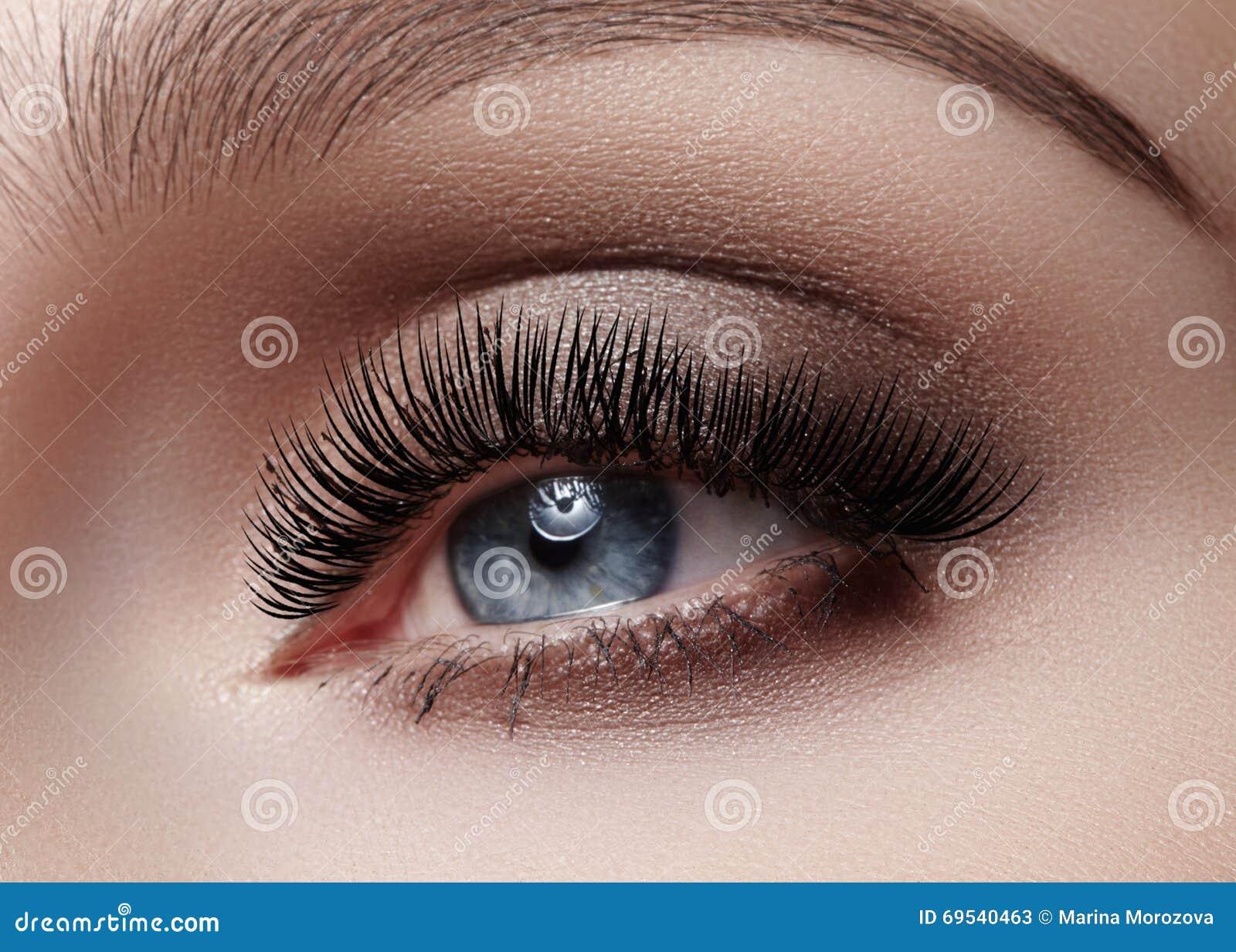 Schöner Makroschuß des weiblichen Auges mit rauchigem Make-up Perfekte Form von Augenbrauen