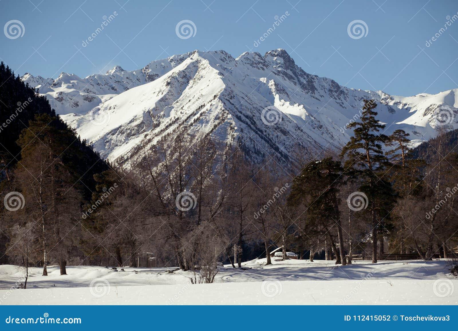 Schöner Panoramablick des Gebirgszugs mit Schnee-mit einer Kappe bedeckten Spitzen, an einem klaren Wintertag