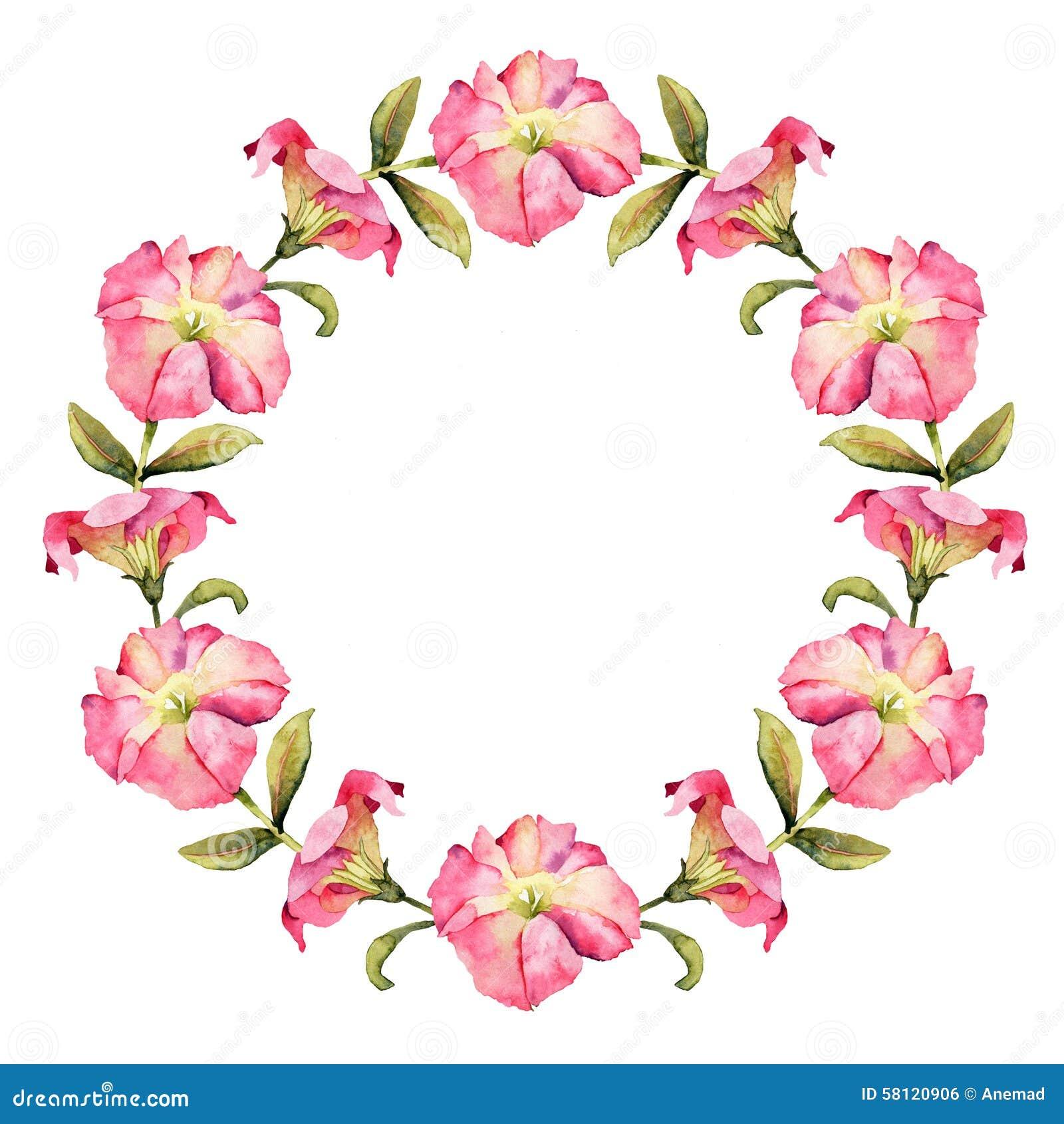 Schöner Petunienblumen-Aquarellkranz
