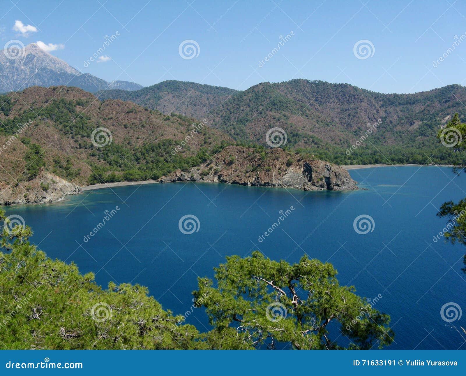 Schöner See des blauen Wassers