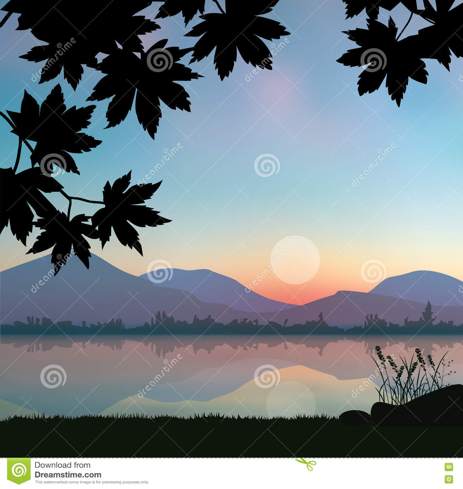Schöner Sonnenuntergang, Vektorillustrationslandschaft