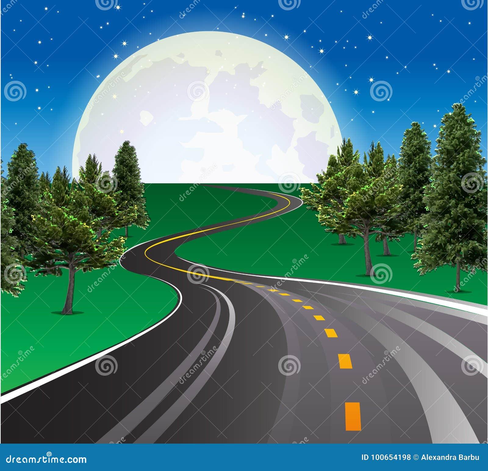 Schöner steigender Mond, Landstraßenstraße in der ländlichen Szene