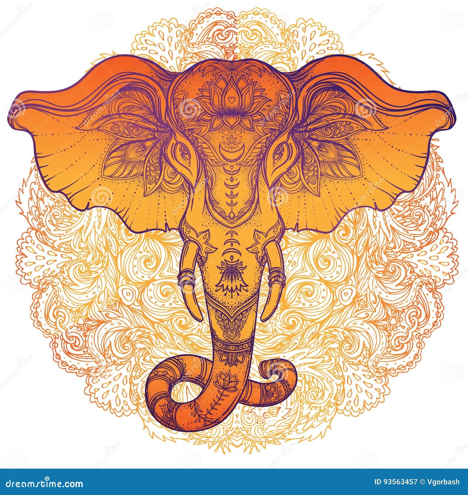 Schöner von Hand gezeichneter Stammes- Artelefant über Mandala Colorfu
