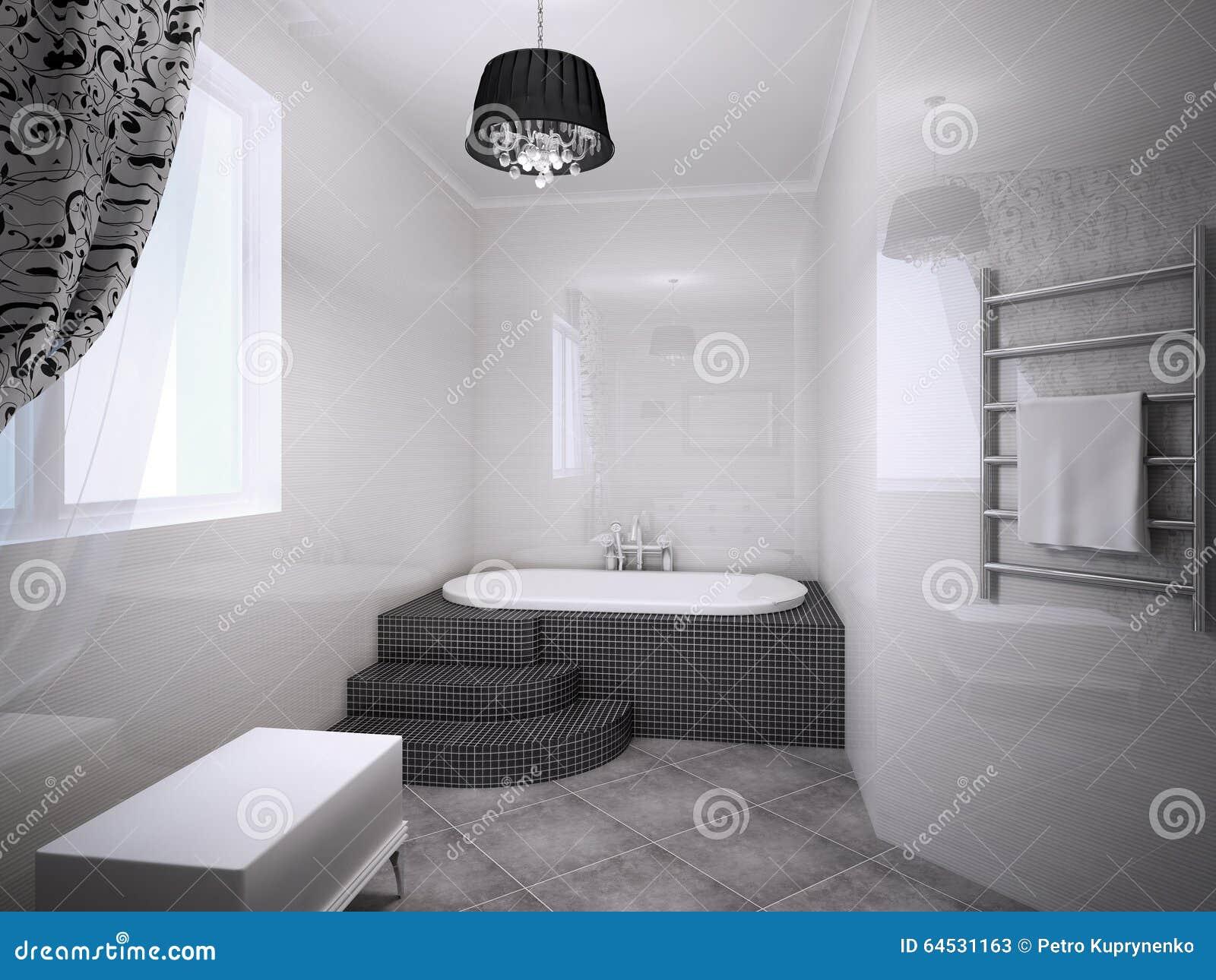 sch nes badezimmer mit jacuzzi stockbild bild von t r badezimmer 64531163. Black Bedroom Furniture Sets. Home Design Ideas