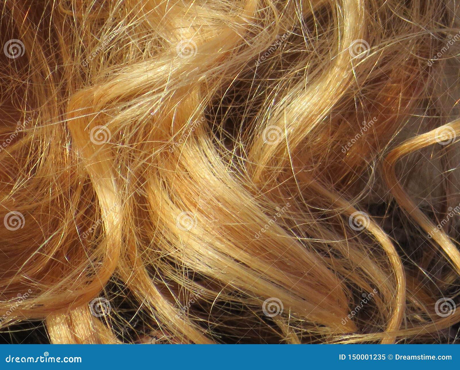 Schönes blondes Haar einer intensiven Farbe und sehr gut gepflegt