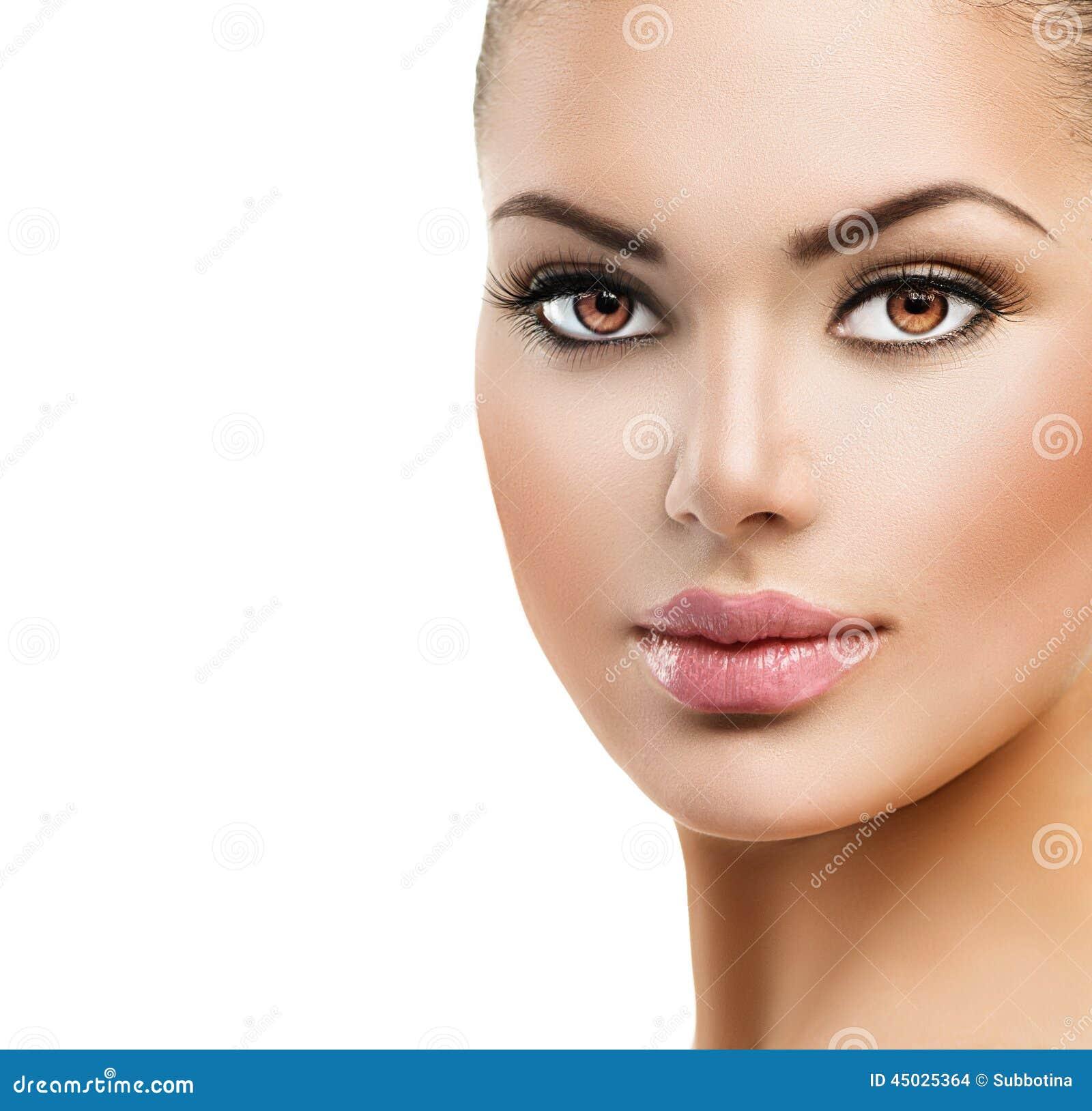 Frau Gesicht: Schönes Gesicht Der Jungen Frau Stockfoto