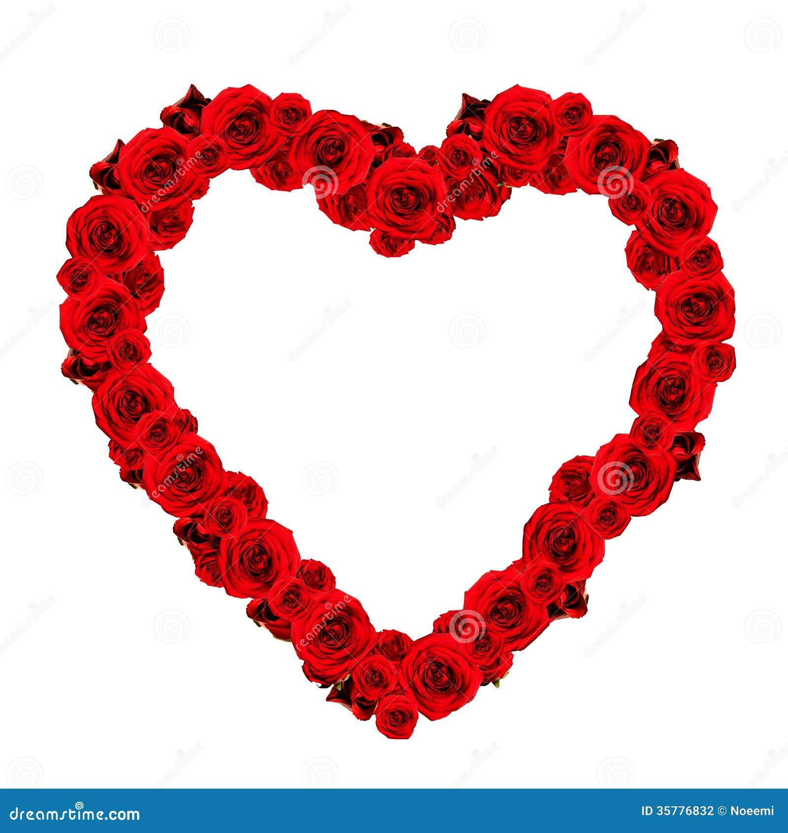Schönes Herz Gemacht Von Den Roten Rosen - Rahmen Stockfoto - Bild ...