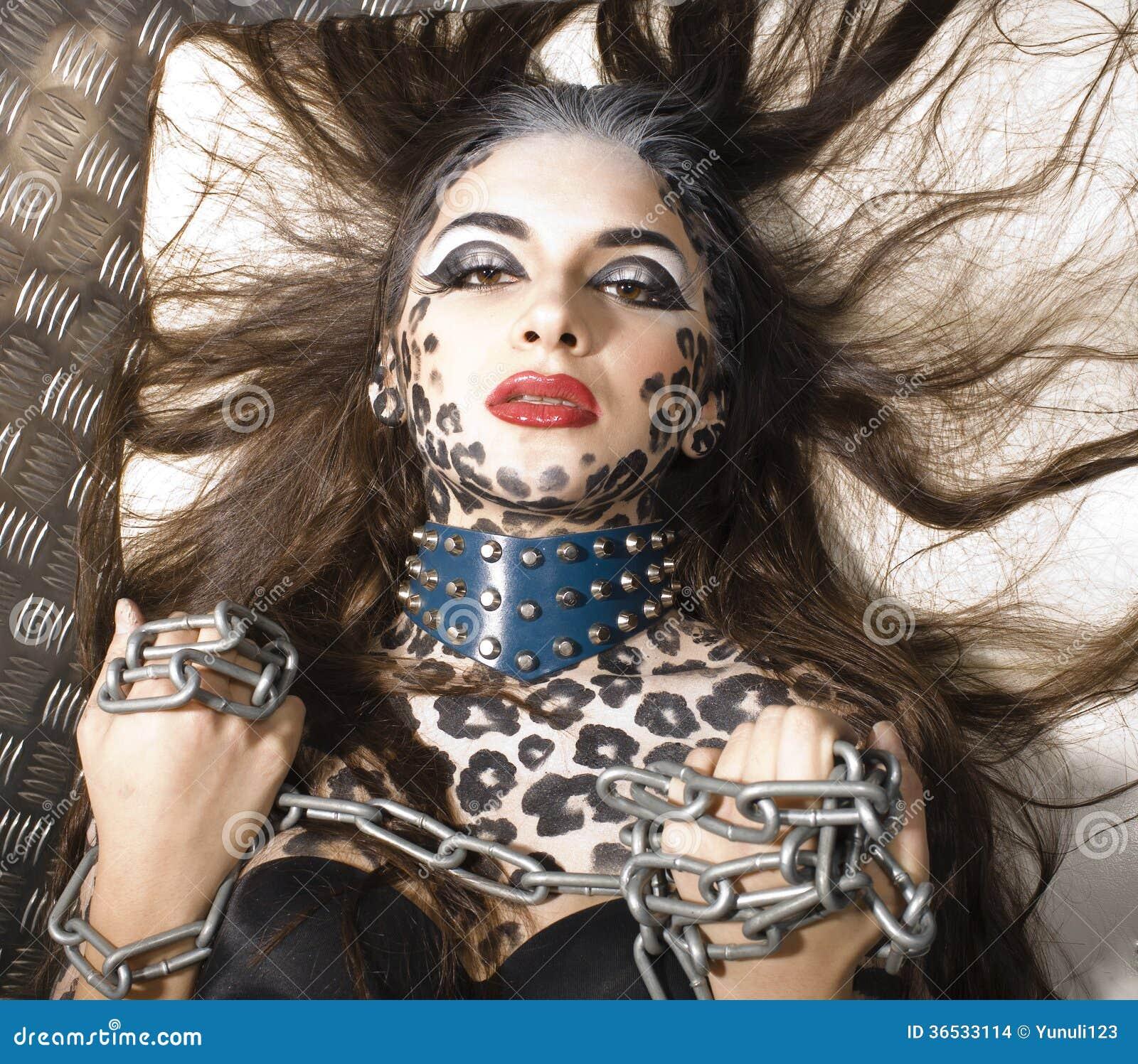 sch nes junges europ isches modell in katze make up und bodyart stockbilder bild 36533114. Black Bedroom Furniture Sets. Home Design Ideas