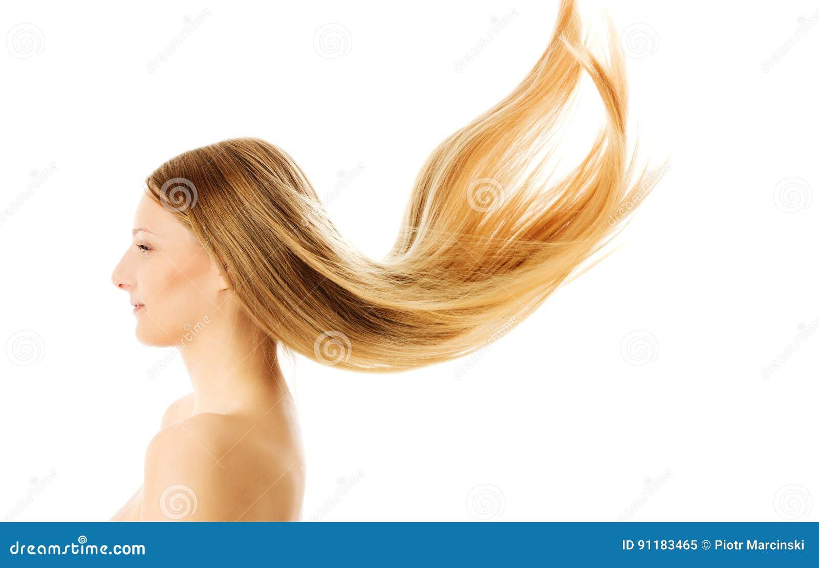 Schones Langes Blondes Haar Lokalisiert Auf Weiss Stockbild Bild