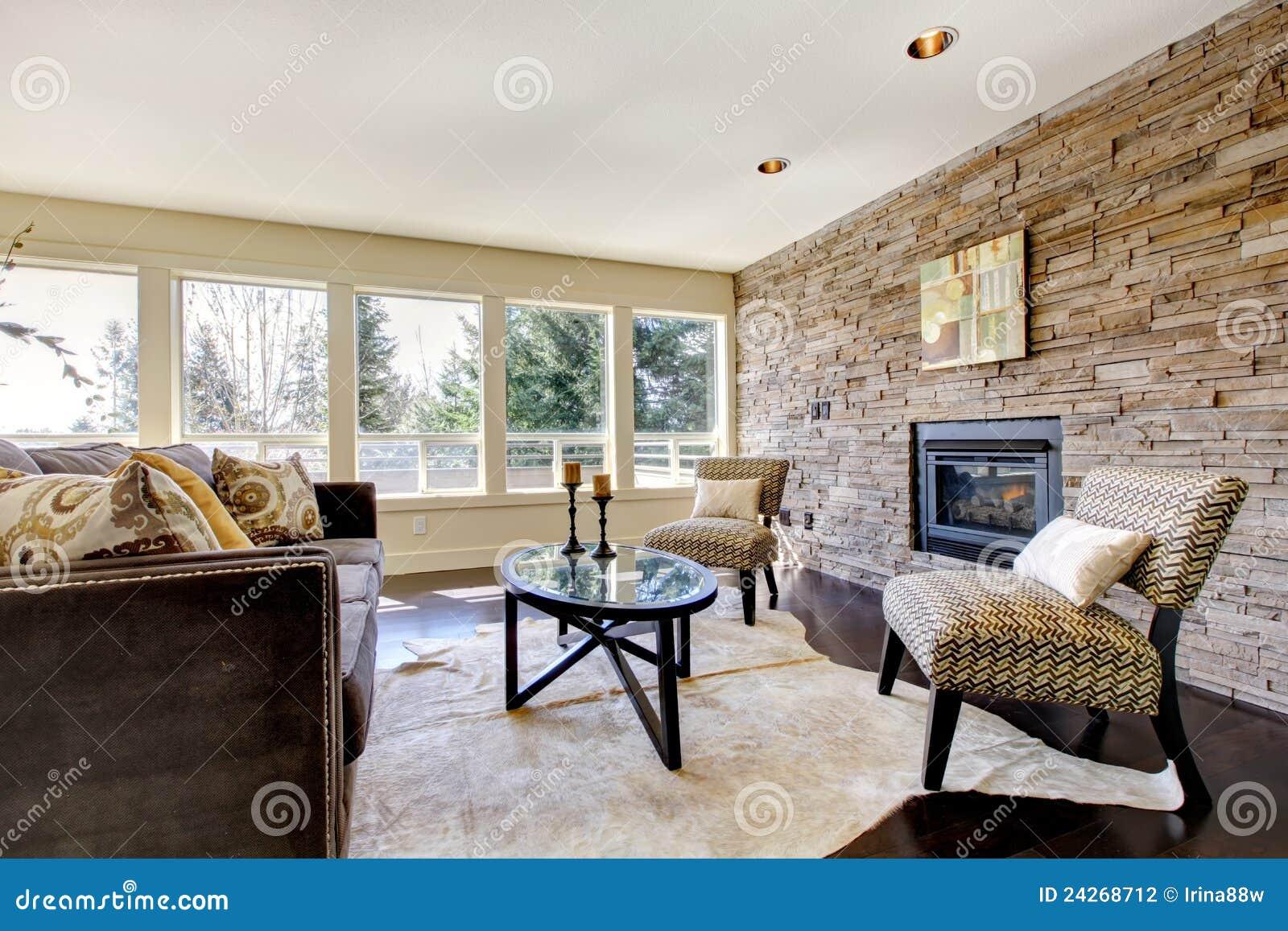 Schönes modernes großes helles wohnzimmer stockfoto
