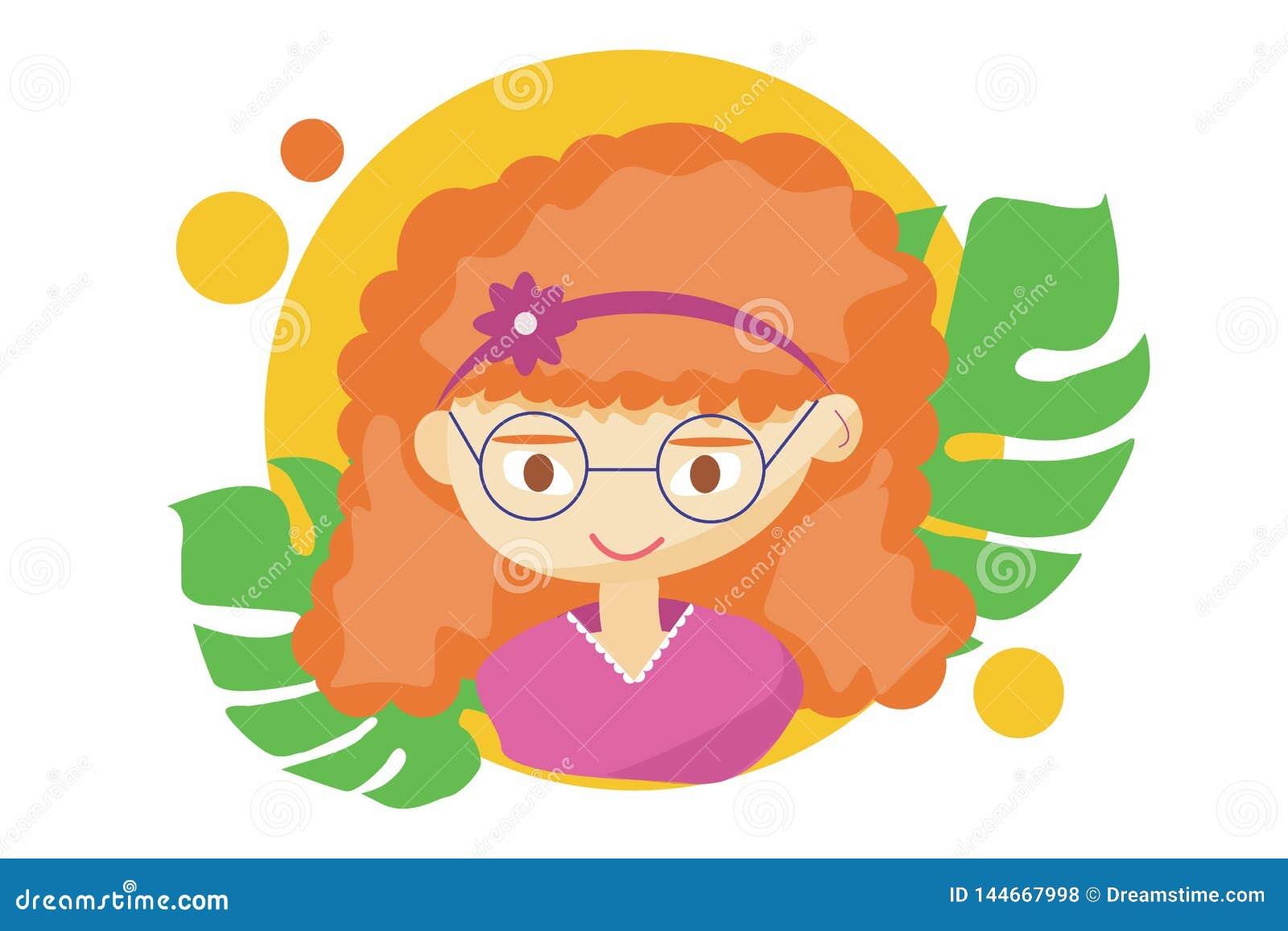 Schönes nettes Sommermädchen - Illustration des schönen rothaarigen glücklichen Mädchengesichtes, positive Gesichtseigenscha