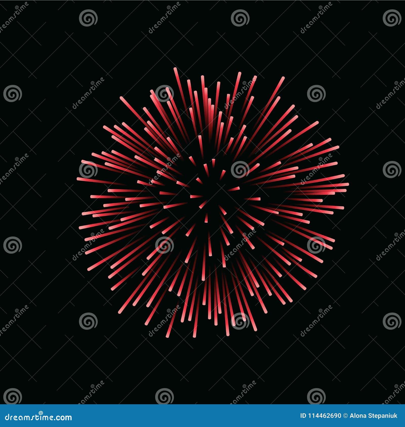 Schönes Rotes Feuerwerk Helles Feuerwerk Lokalisierter Schwarzer ...