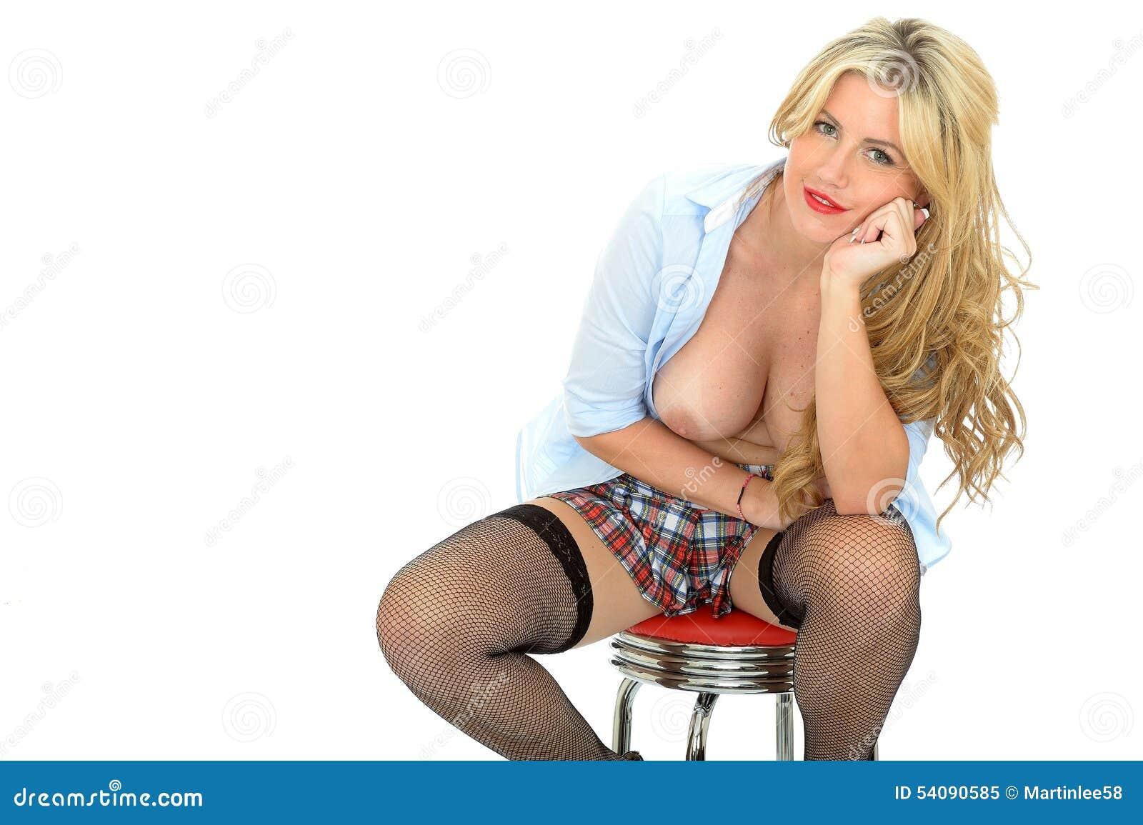 Schönes sexy unverschämtes flirtend junges klassisches blondes Pin Up Model Posing Topless