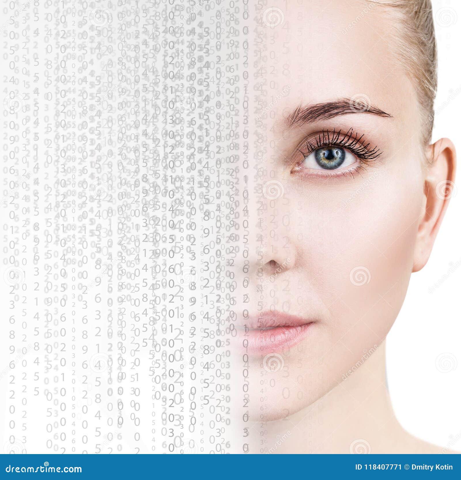 Schönes weibliches Gesicht wandeln im Matrixcode um