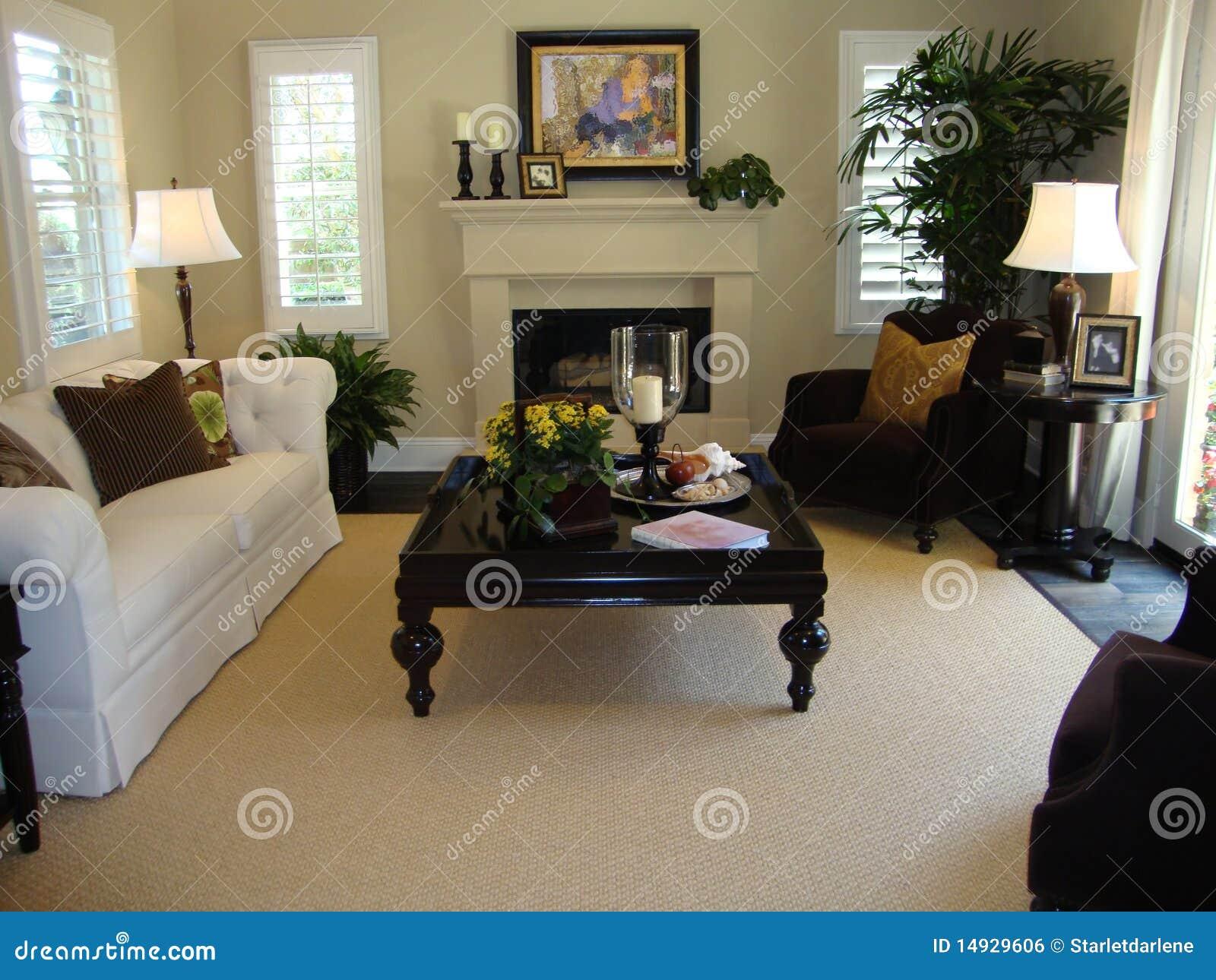 Schönes Wohnzimmer stockfoto. Bild von sofa, braun, wolldecke - 14929606