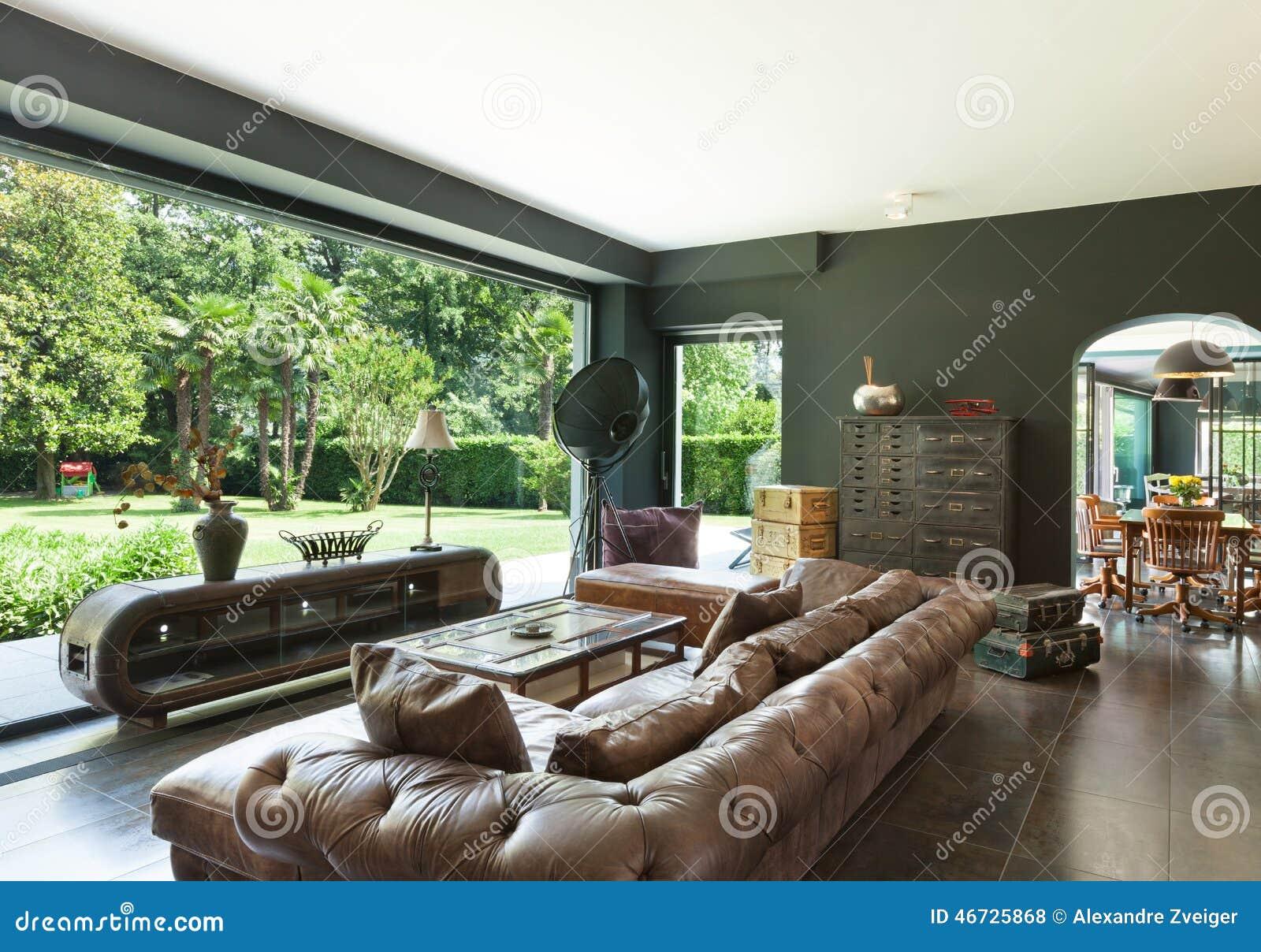 Schones Wohnzimmer Stockfoto Bild Von Garten Leder 46725868