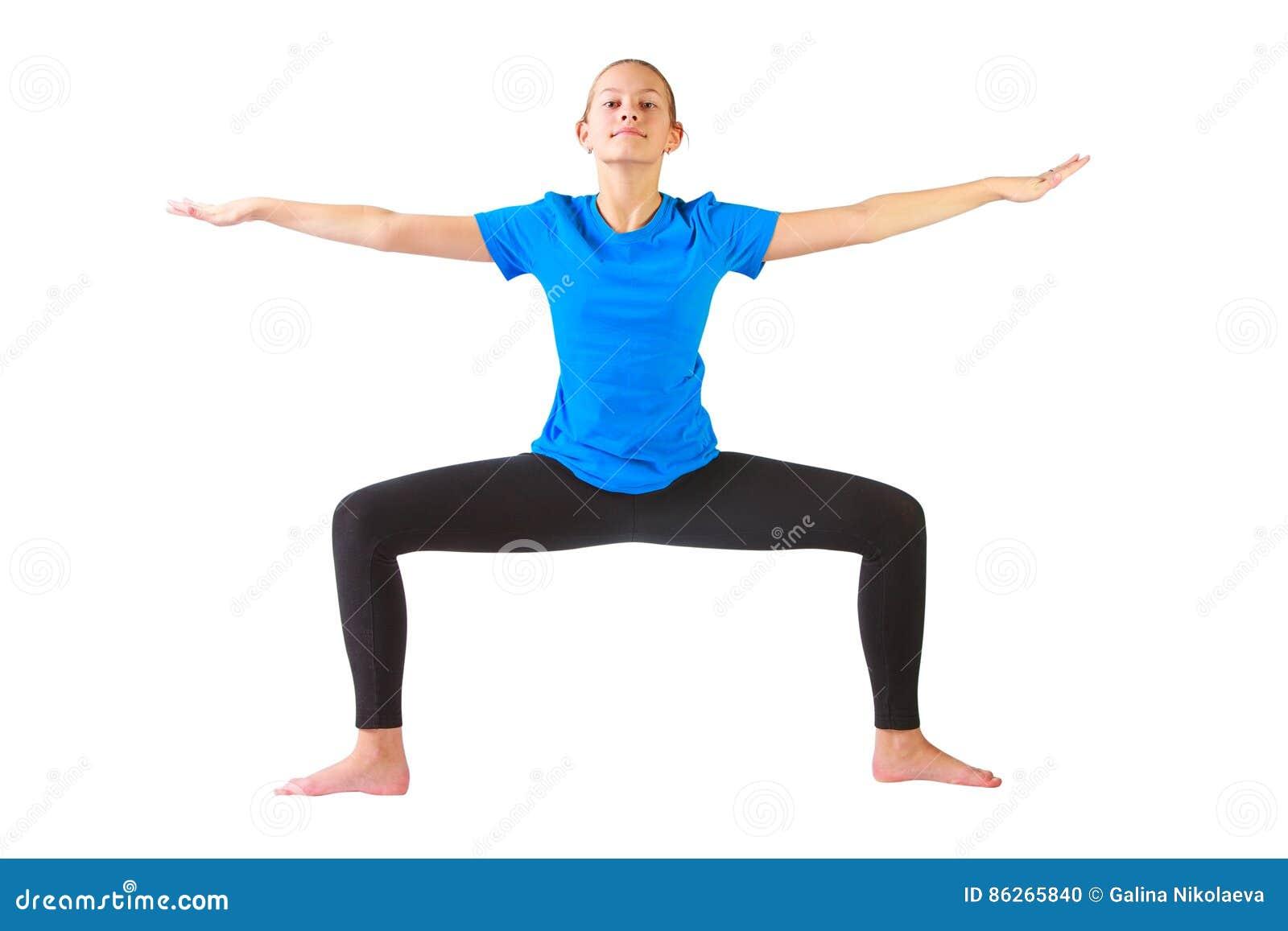 Schönheit, die yoguna Weißhintergrund tut