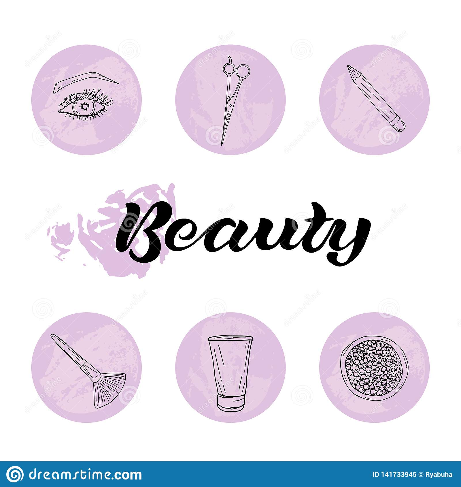 Schönheit und Körperpflegeikonensatz