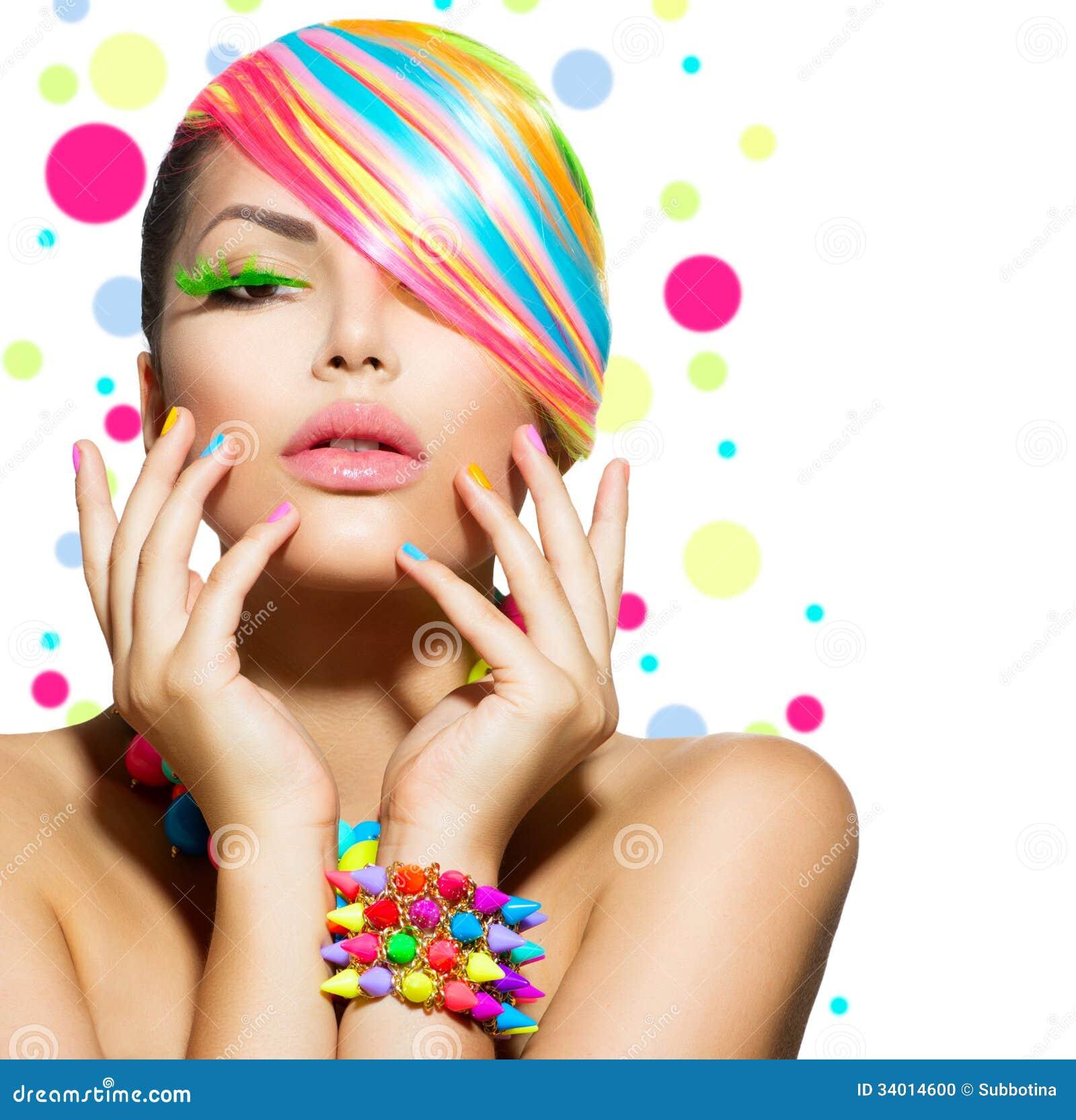 Schönheits-Mädchen mit buntem Make-up
