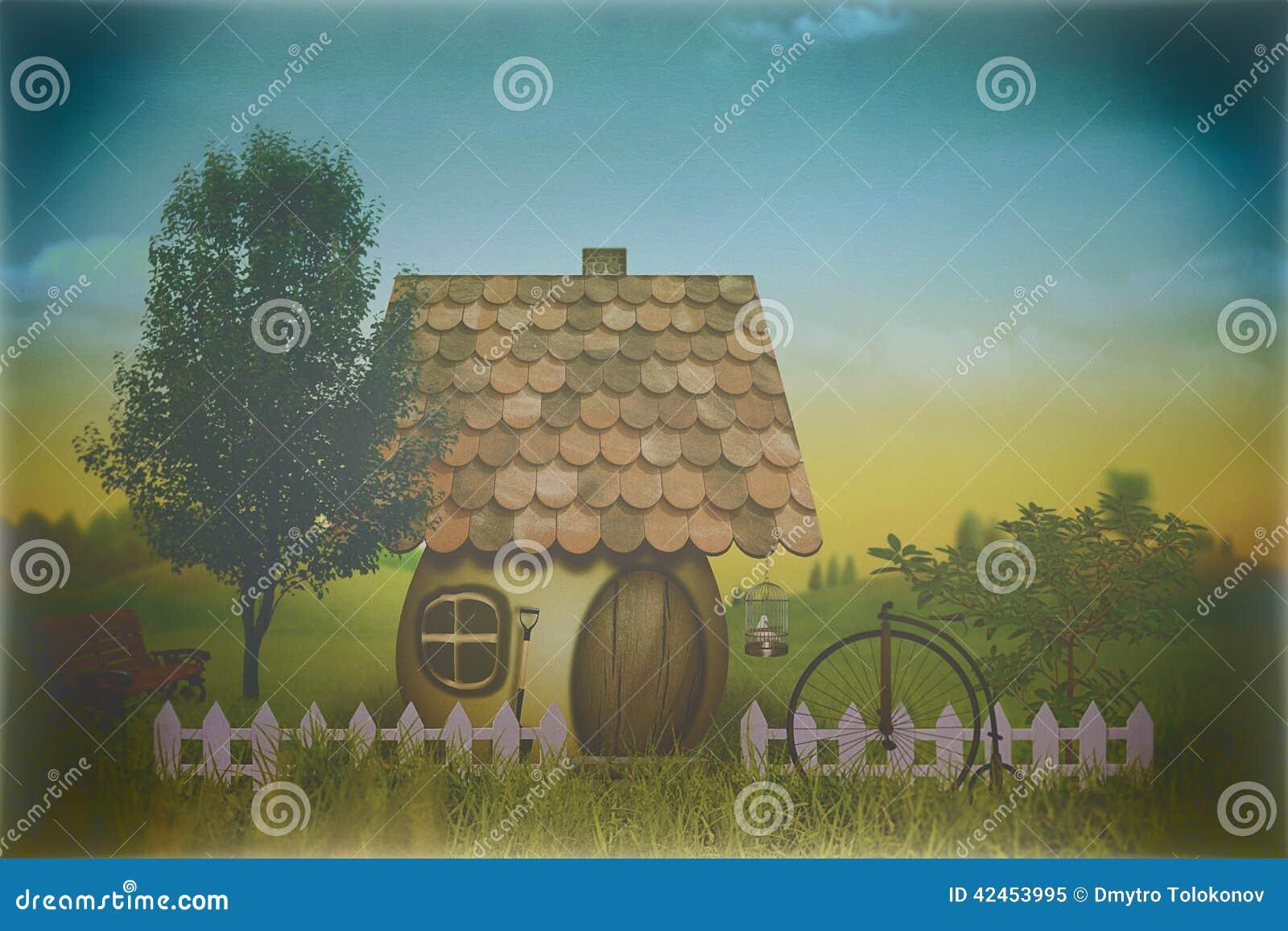 Schönheitsbauernhof mit wenigem Haus und Fahrrad