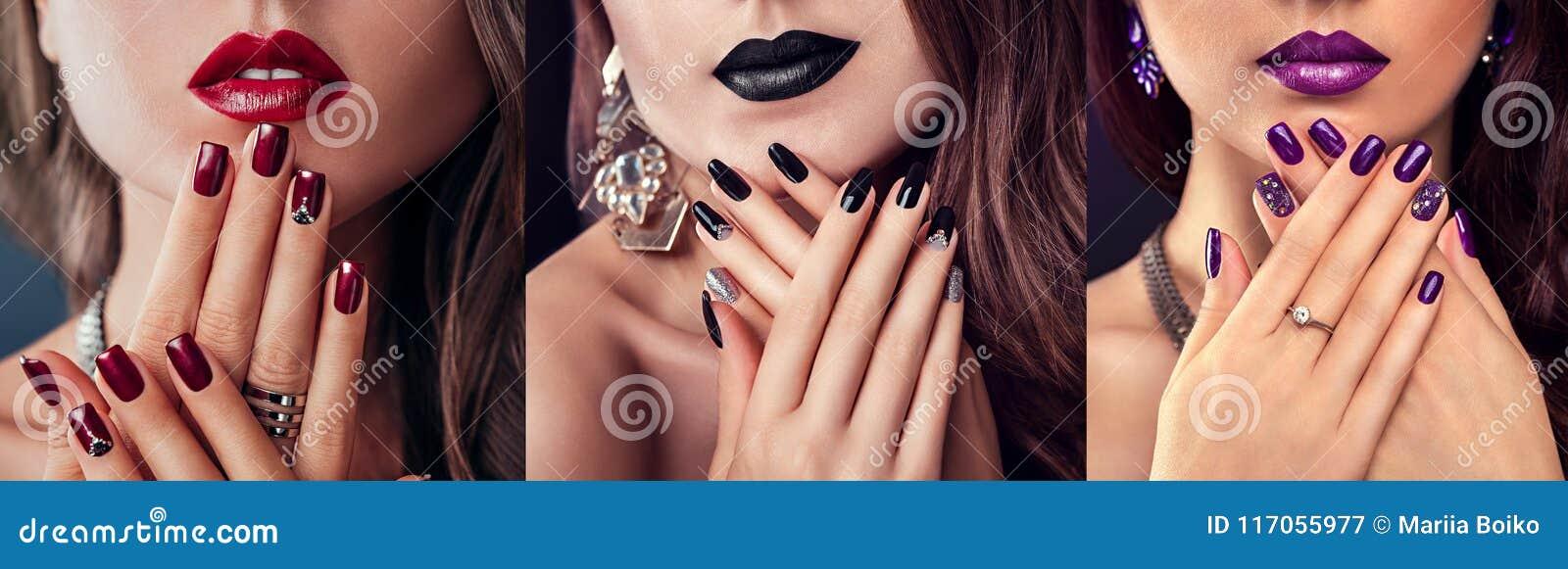 Schönheitsmode-modell mit unterschiedlichem Make-up und Nagel entwerfen tragenden Schmuck Satz der Maniküre Drei stilvolle Blicke