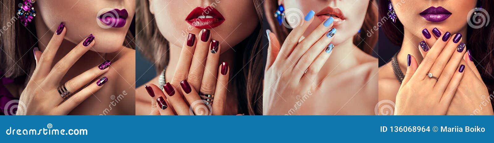 Schönheitsmode-modell mit unterschiedlichem Make-up und Nagel entwerfen tragenden Schmuck Satz der Maniküre Vier stilvolle Blicke