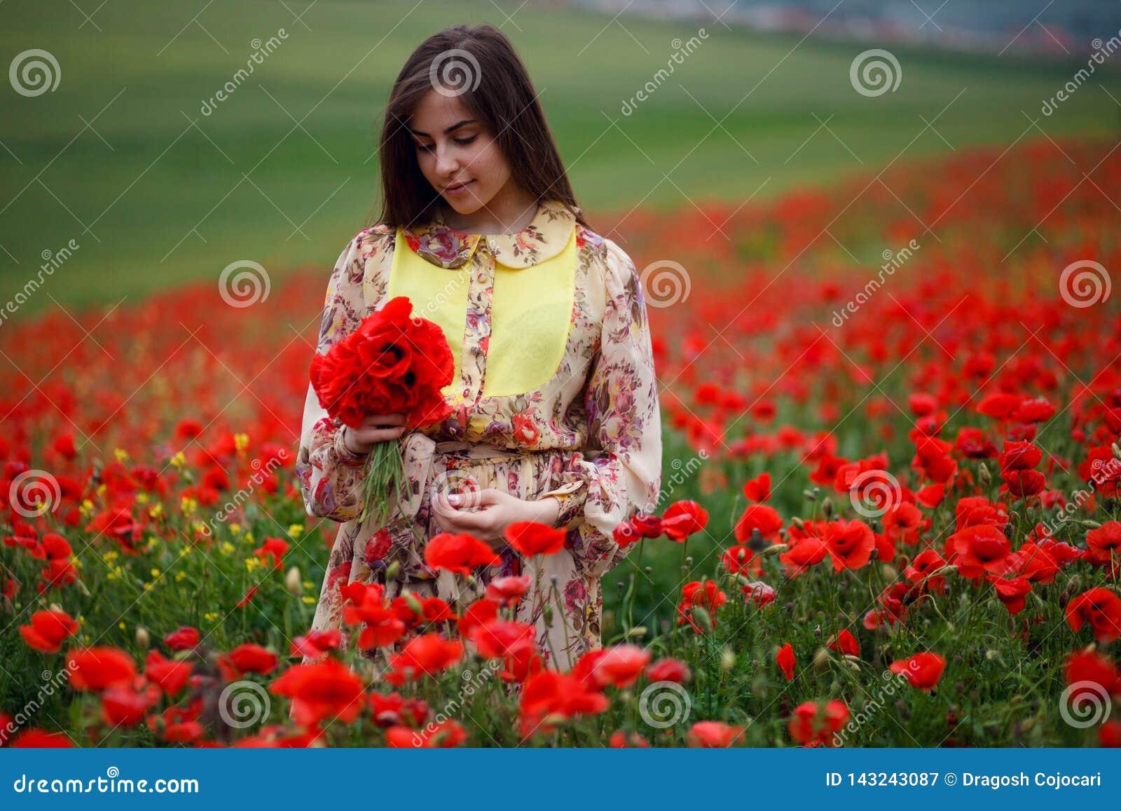 Schönheitsporträt des langhaarigen jungen Modells, in Mohnblumen Feld gesetzt, Sommertageshintergrund